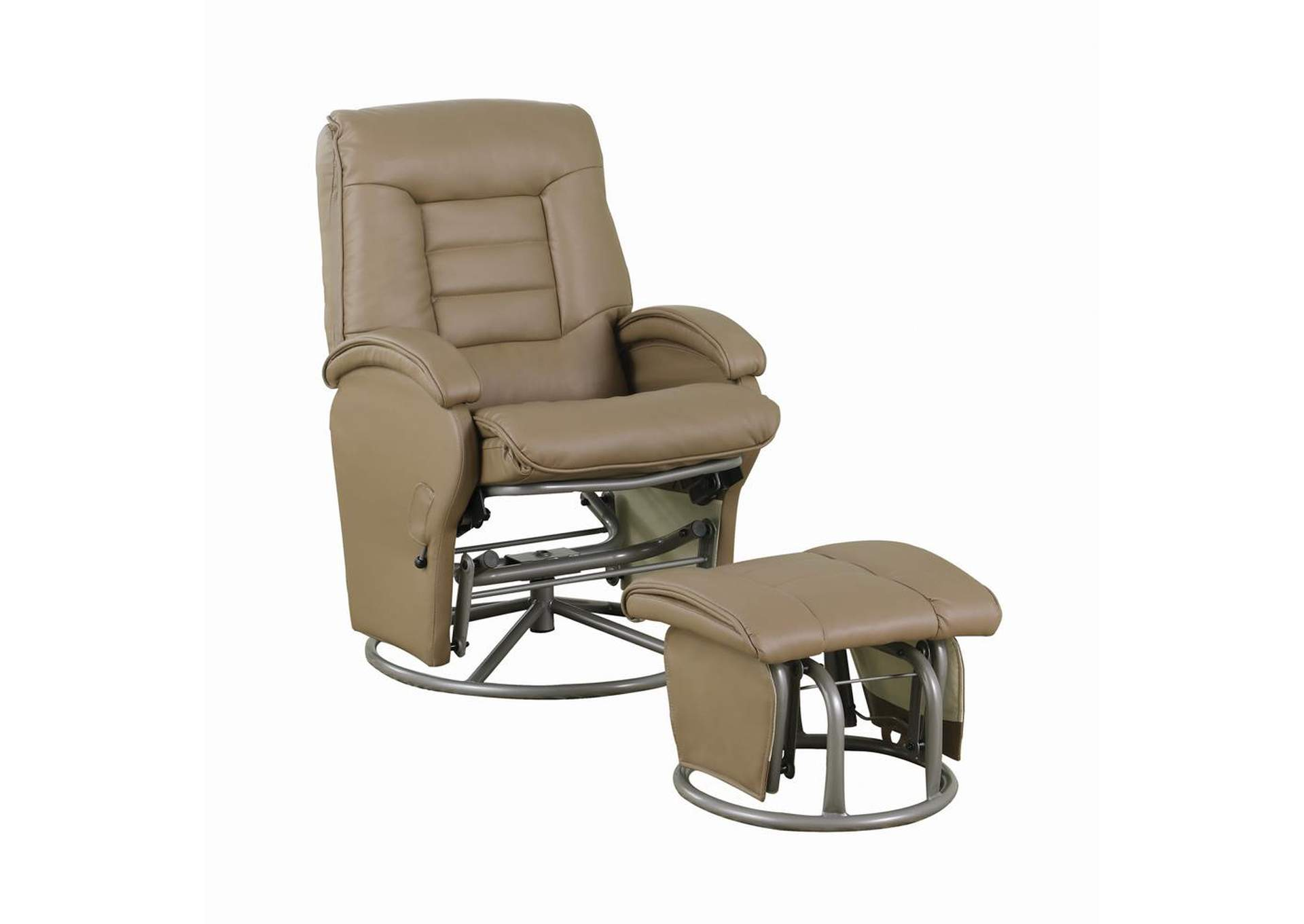 Beaver Casual Bone Faux Leather Vinyl Reclining Glider W/ Matching Ottoman,Coaster Furniture