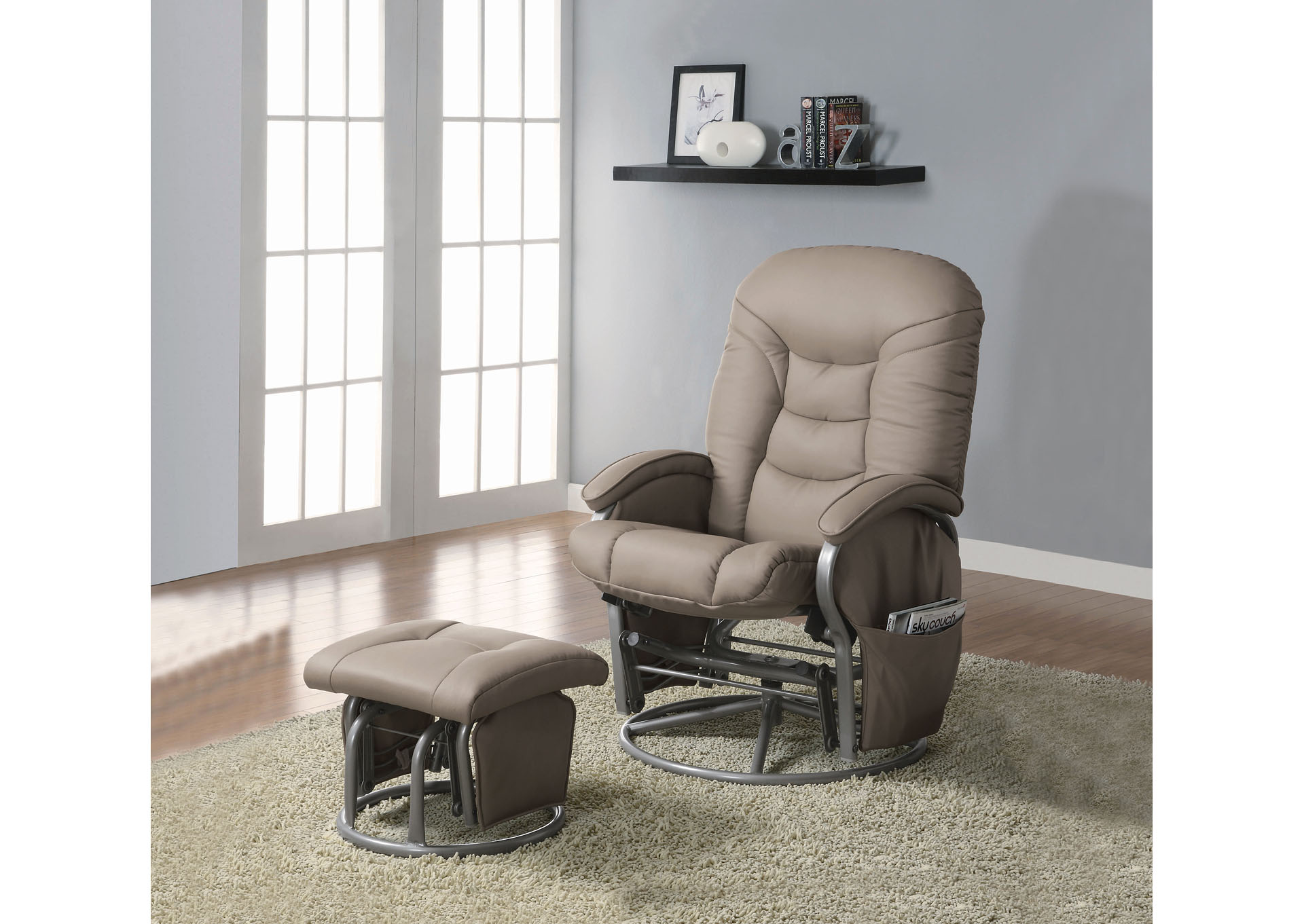 Gray Casual Faux Leather Glider Recliner',Coaster Furniture