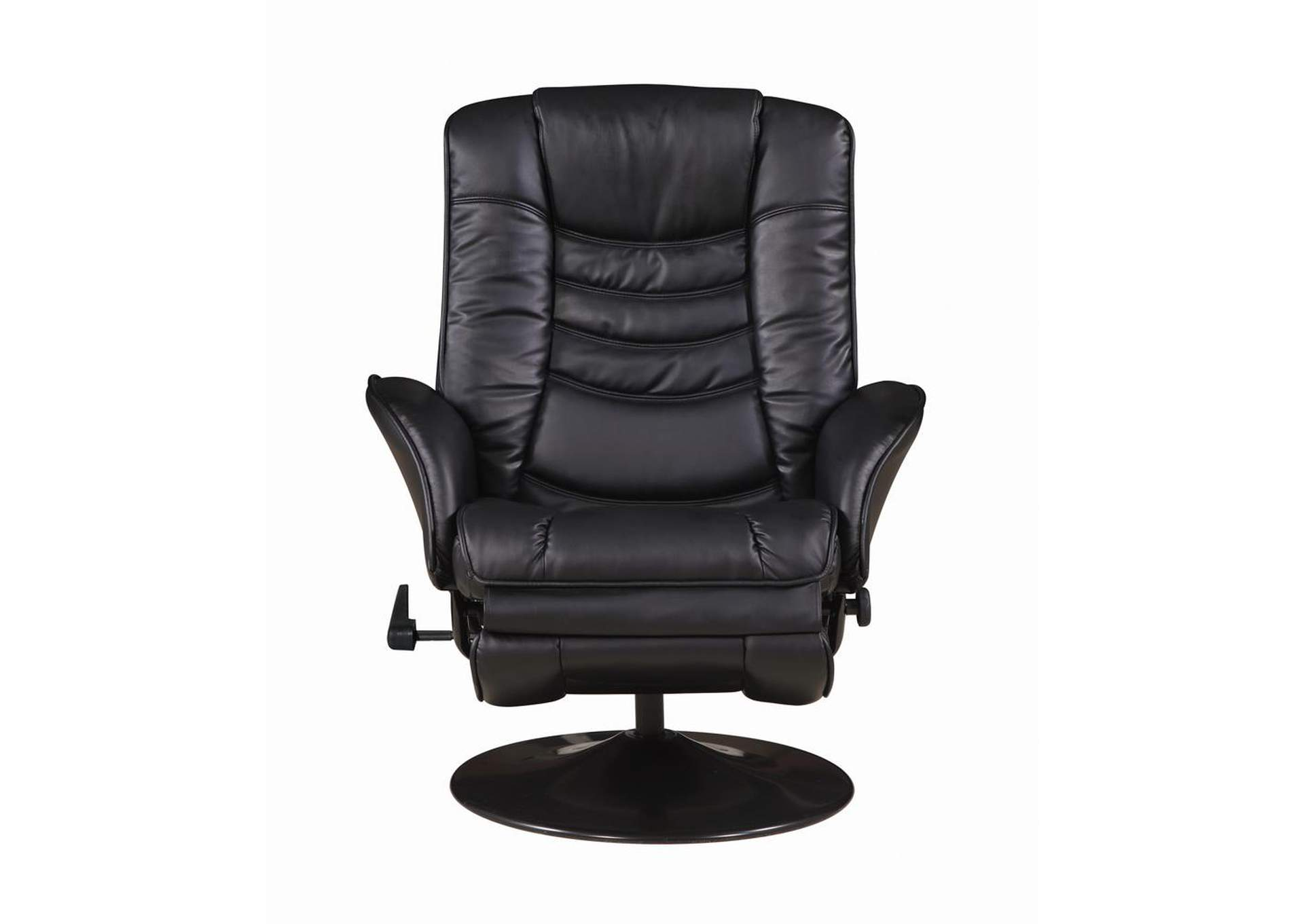 Eerie Black Casual Black Faux Leather Swivel Recliner,Coaster Furniture