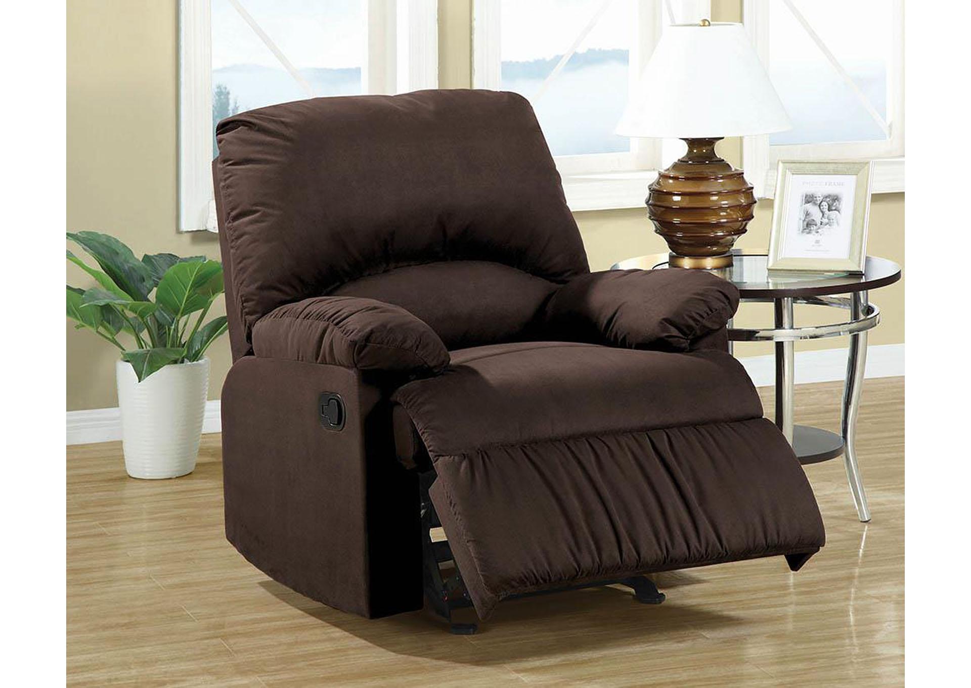 English Walnut Casual Chocolate Glider Recliner,Coaster Furniture