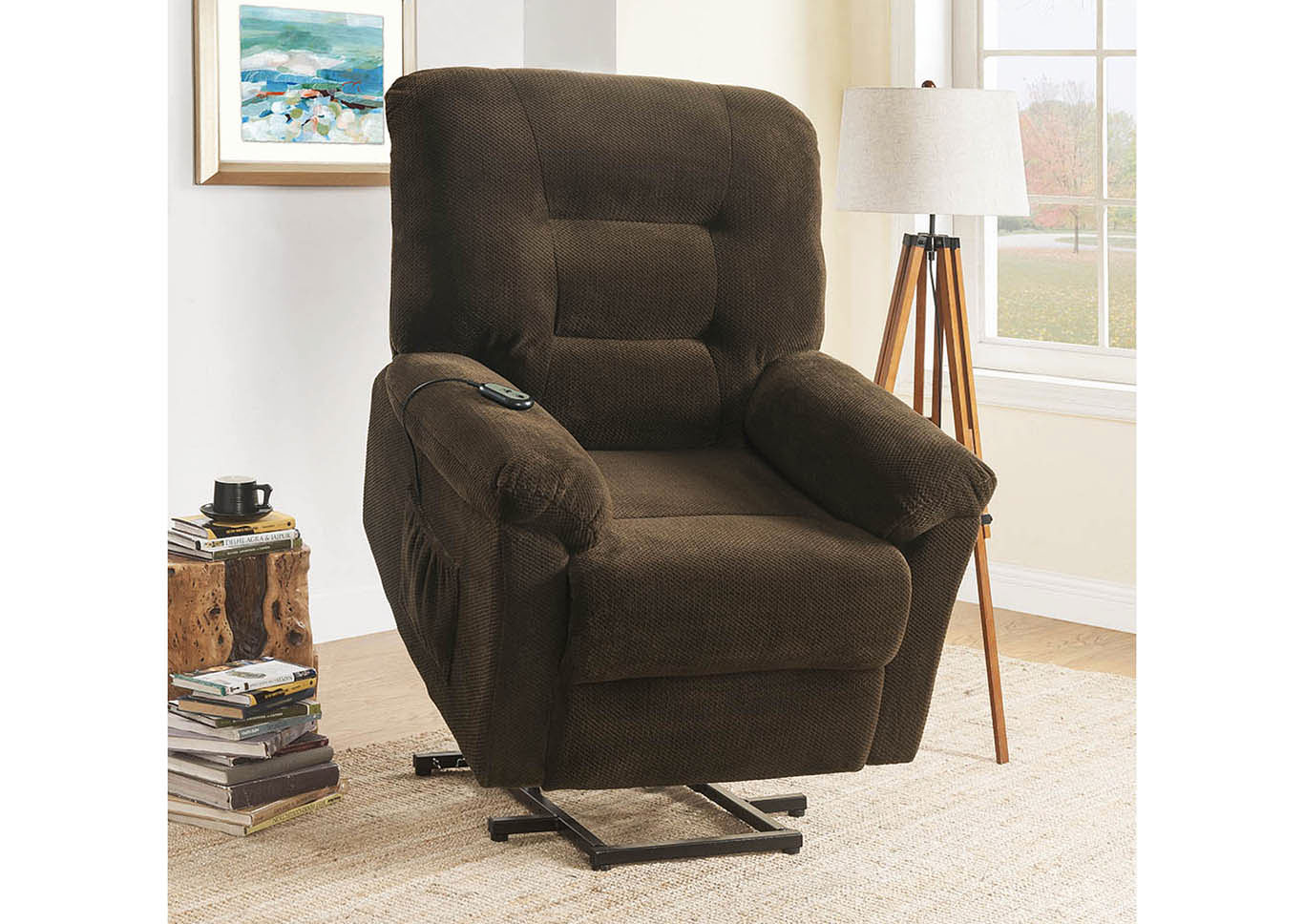 Armadillo Chocolate Power Lift Recliner,Coaster Furniture