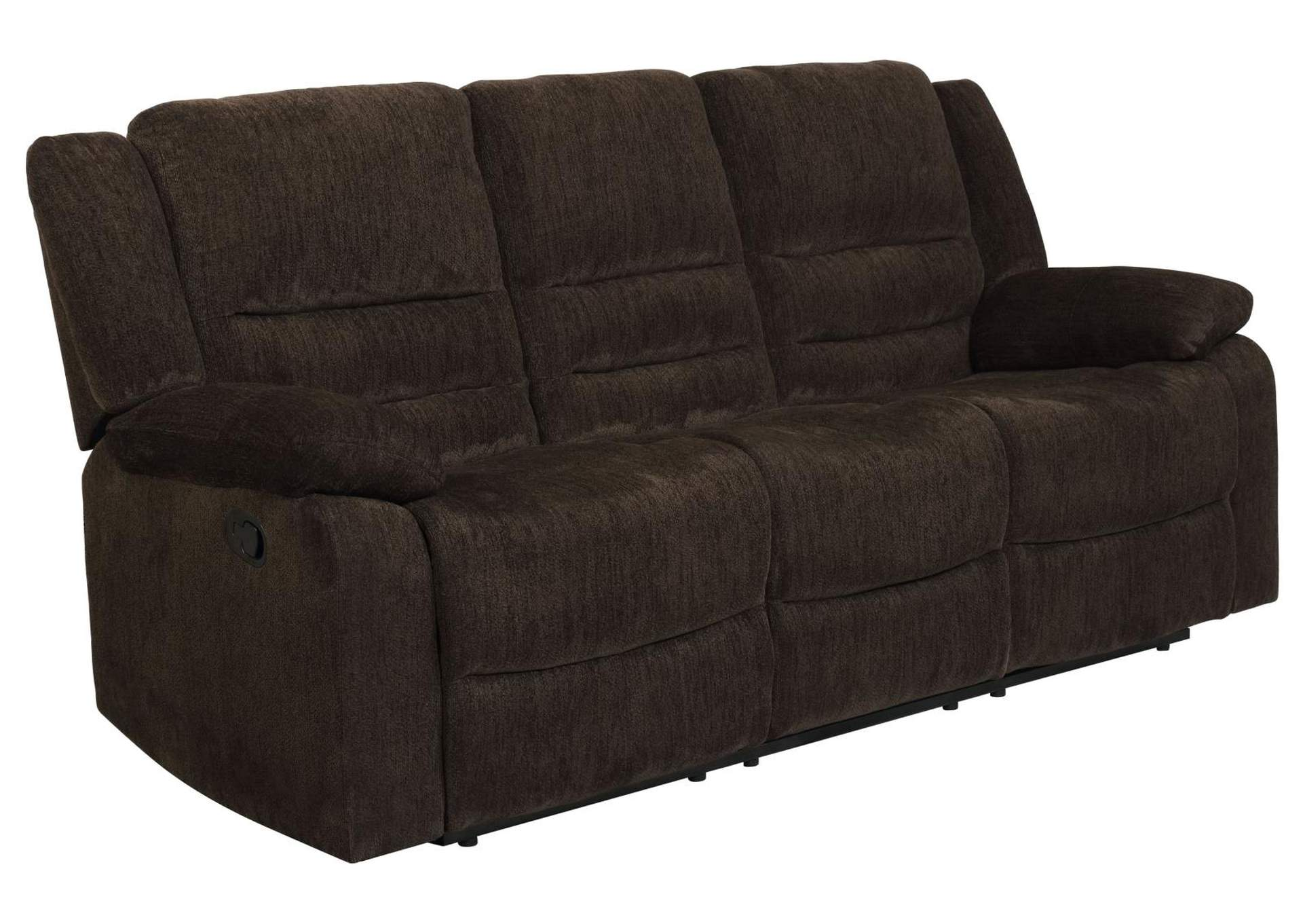 Eerie Black Gordon Chocolate Reclining Sofa,Coaster Furniture