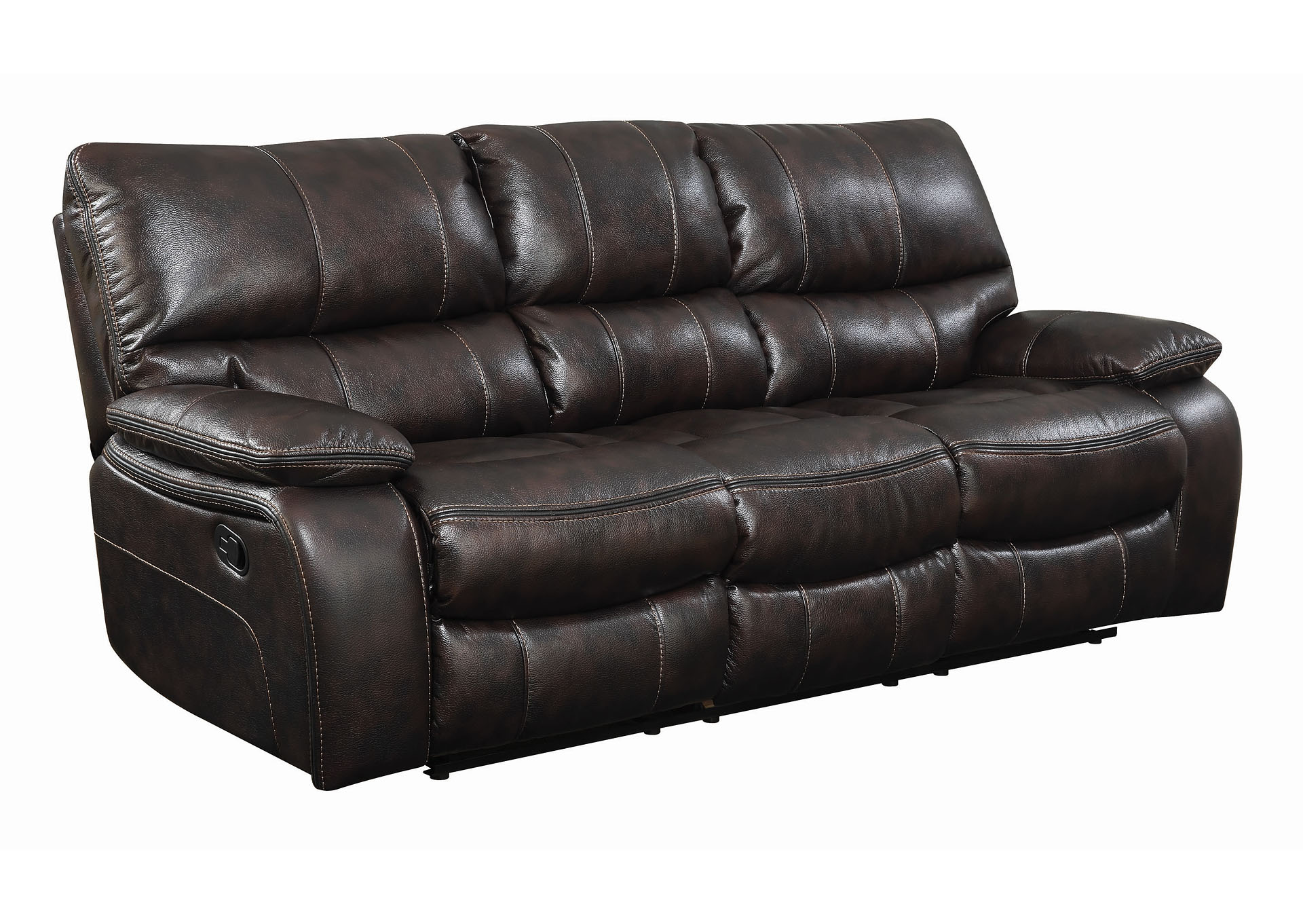 Eerie Black Willemse Chocolate Reclining Sofa W/ Drop Down Table,Coaster Furniture