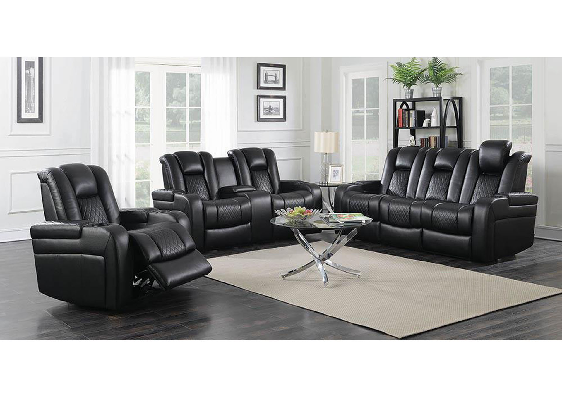 Eerie Black Delangelo Black Power Motion Reclining Sofa,Coaster Furniture