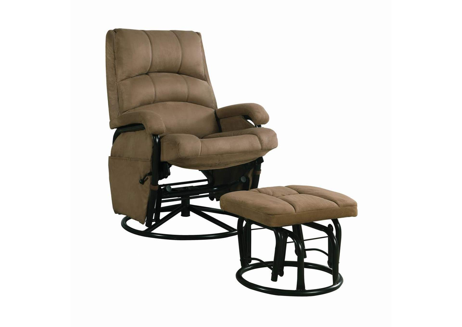 Hunter Green Casual Brown Reclining Glider W/ Matching Ottoman,Coaster Furniture