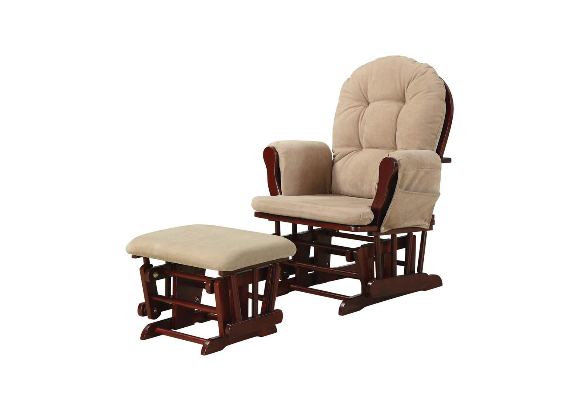 Sorrell Brown Traditional Beige Rocking Glider W/ Matching Ottoman,Coaster Furniture