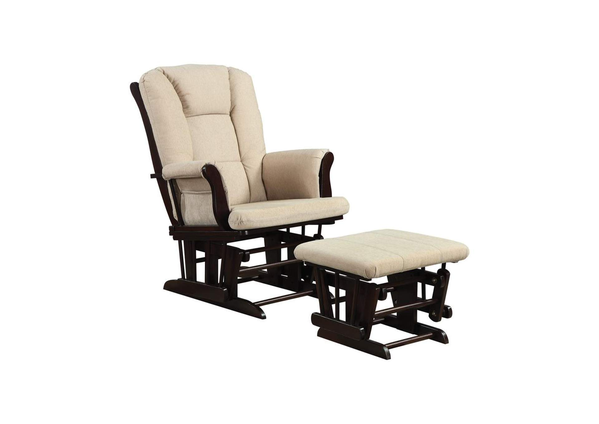 Bone Traditional Beige Rocking Glider W/ Matching Ottoman,Coaster Furniture