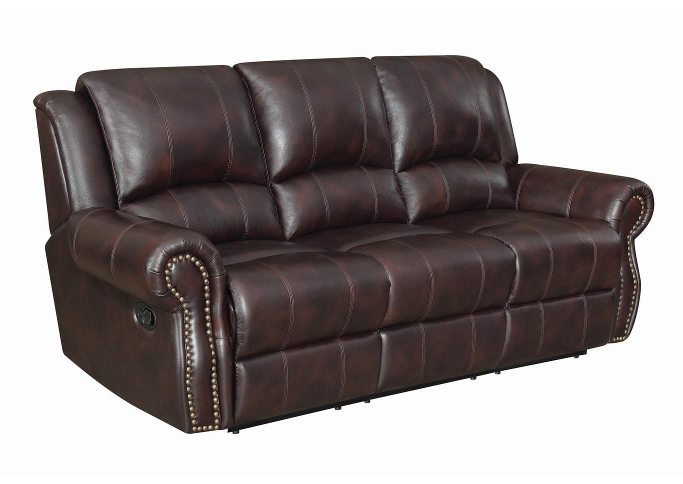 Woody Brown Sir Rawlinson Traditional Burgundy Motion Sofa,Coaster Furniture
