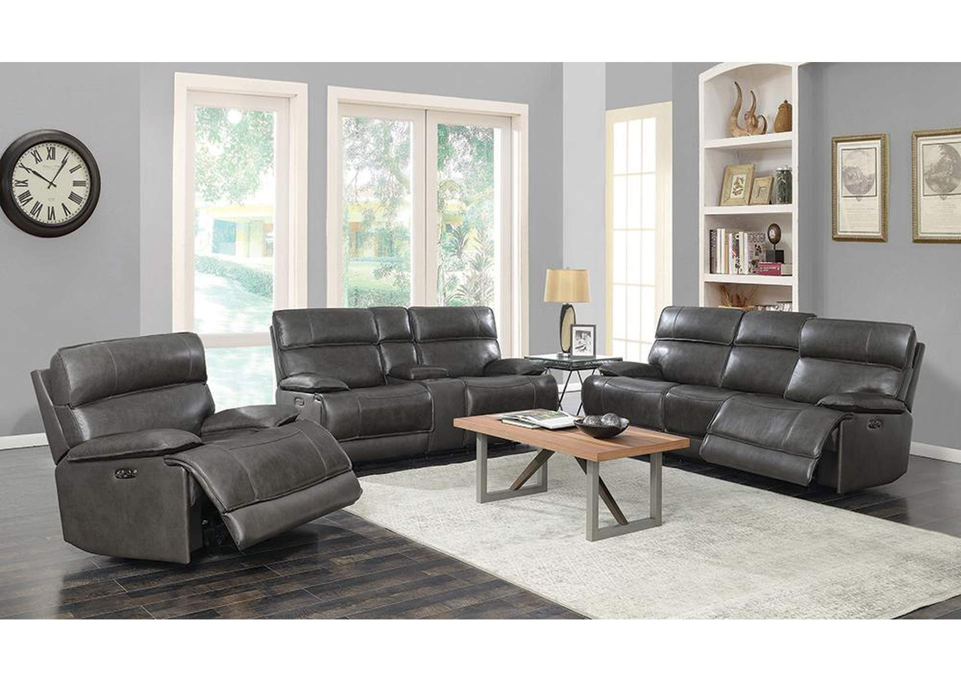 Chicago Standford Casual Charcoal Power Sofa,Coaster Furniture