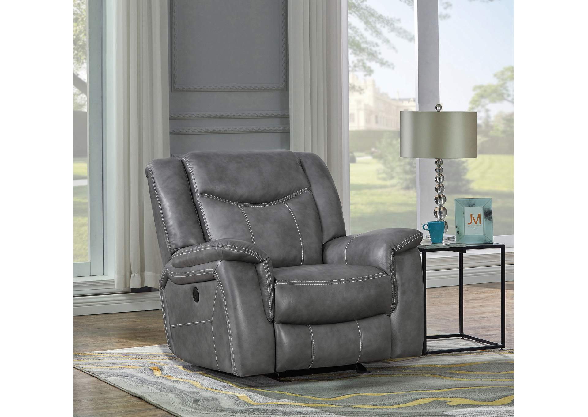 Tundora Conrad Transitional Grey Glider Recliner,Coaster Furniture
