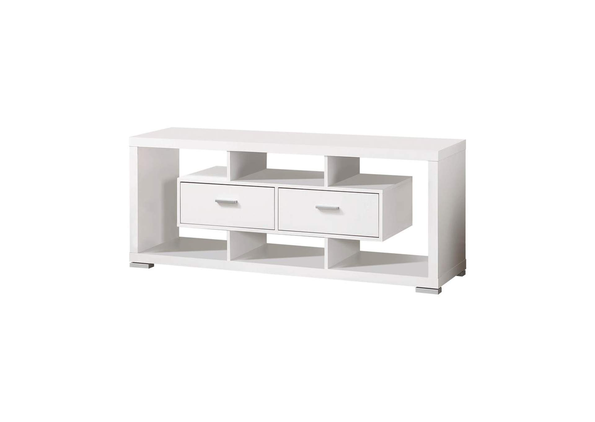 White Modern White TV Console,Coaster Furniture