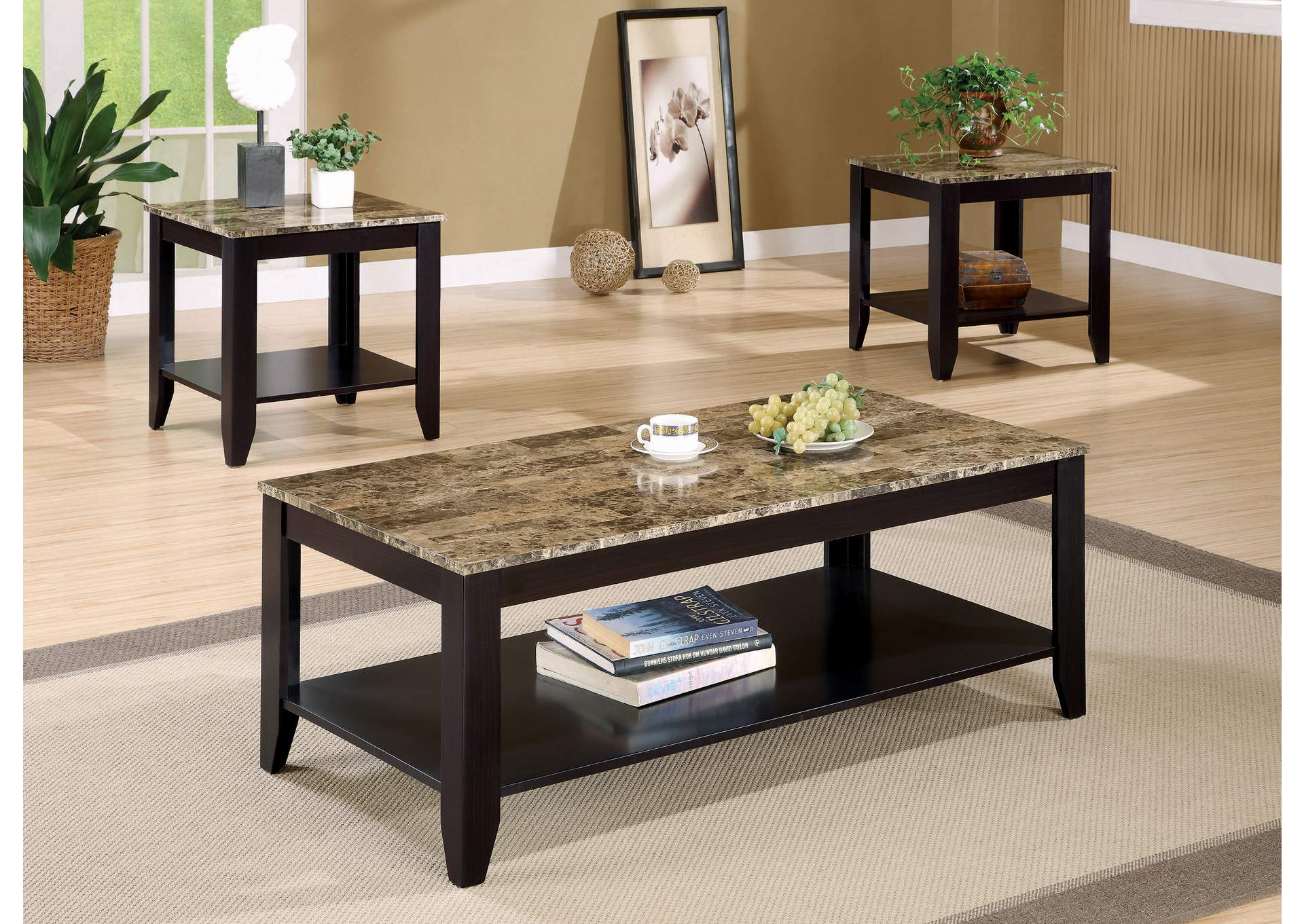 Walnut Transitional Marble Look Top Three-Piece Table Set,Coaster Furniture