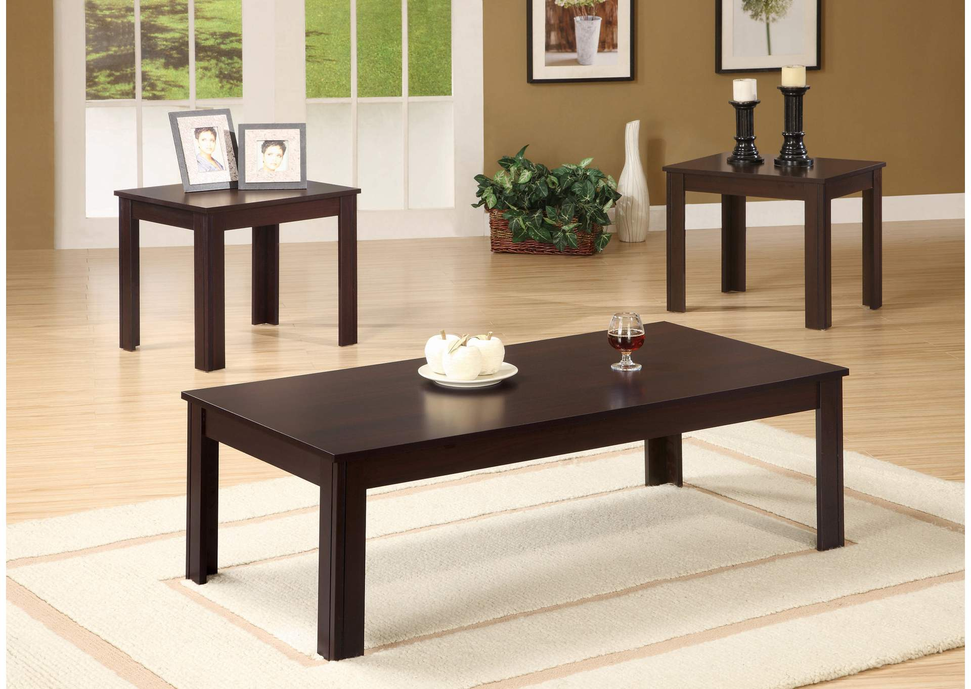 Cappuccino Transitional Walnut Three-Piece Occasional Table Set,Coaster Furniture