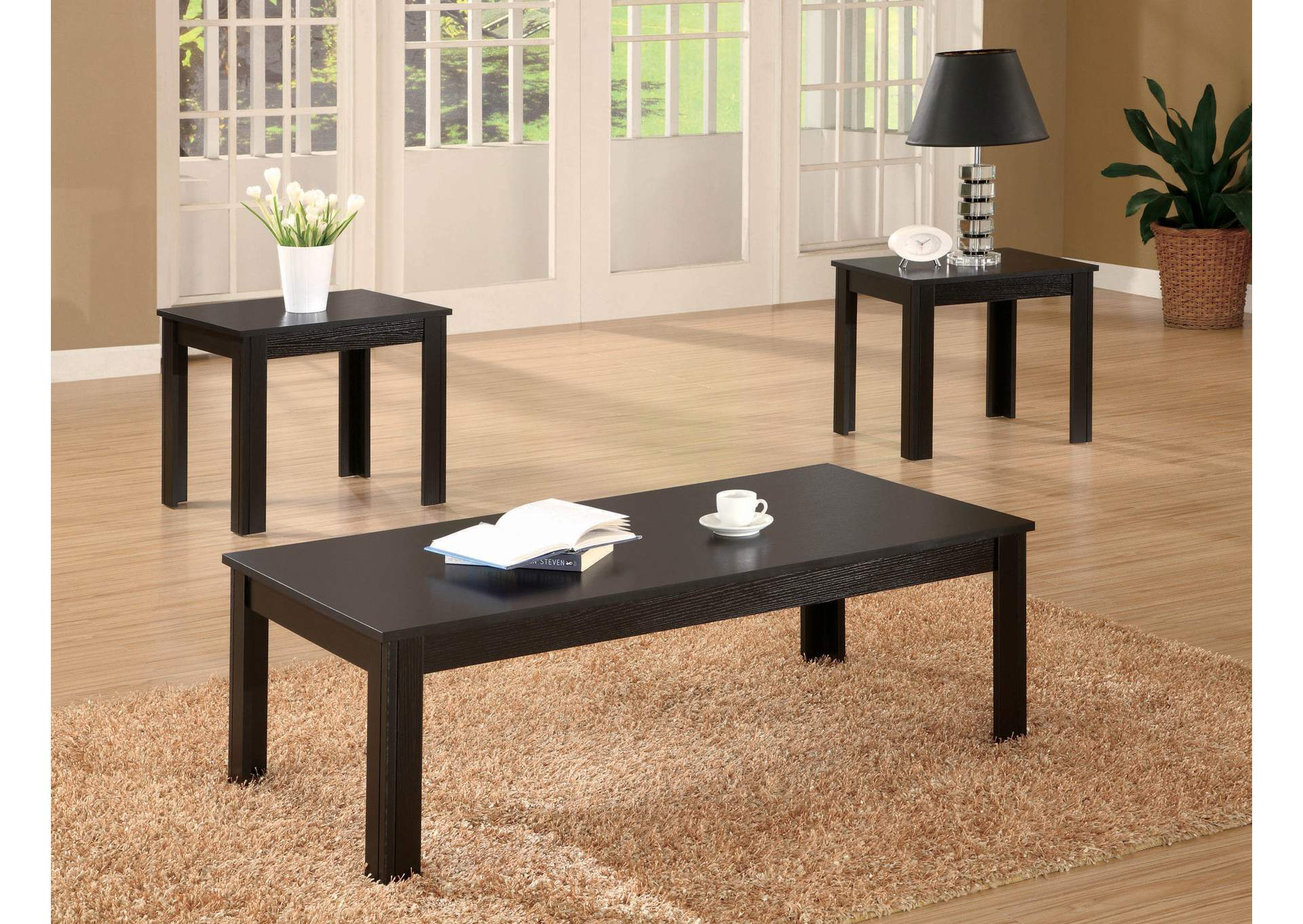 Black Transitional Three-Piece Occasional Set,Coaster Furniture
