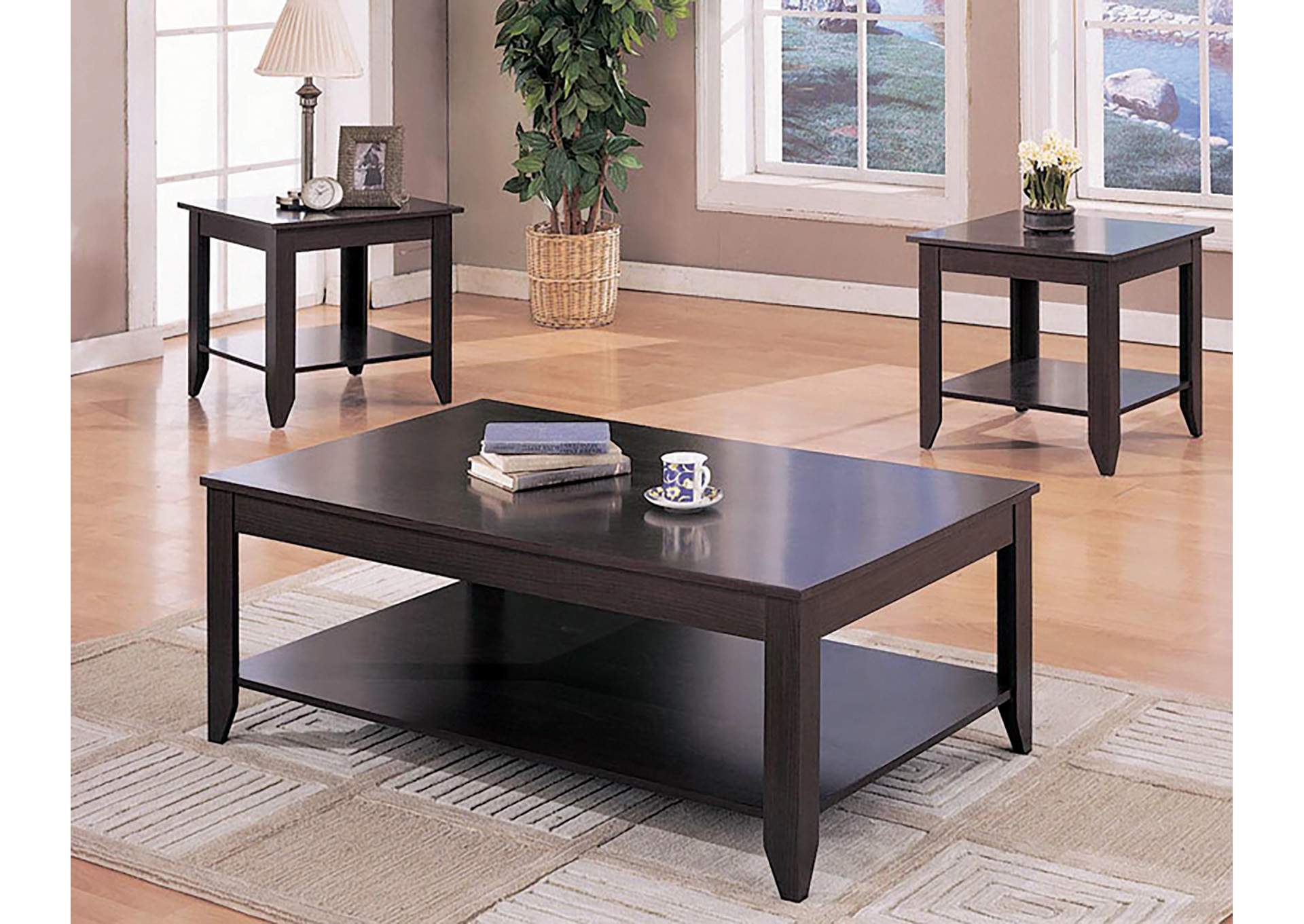 Cappuccino Casual Three-Piece Occasional Table Set,Coaster Furniture