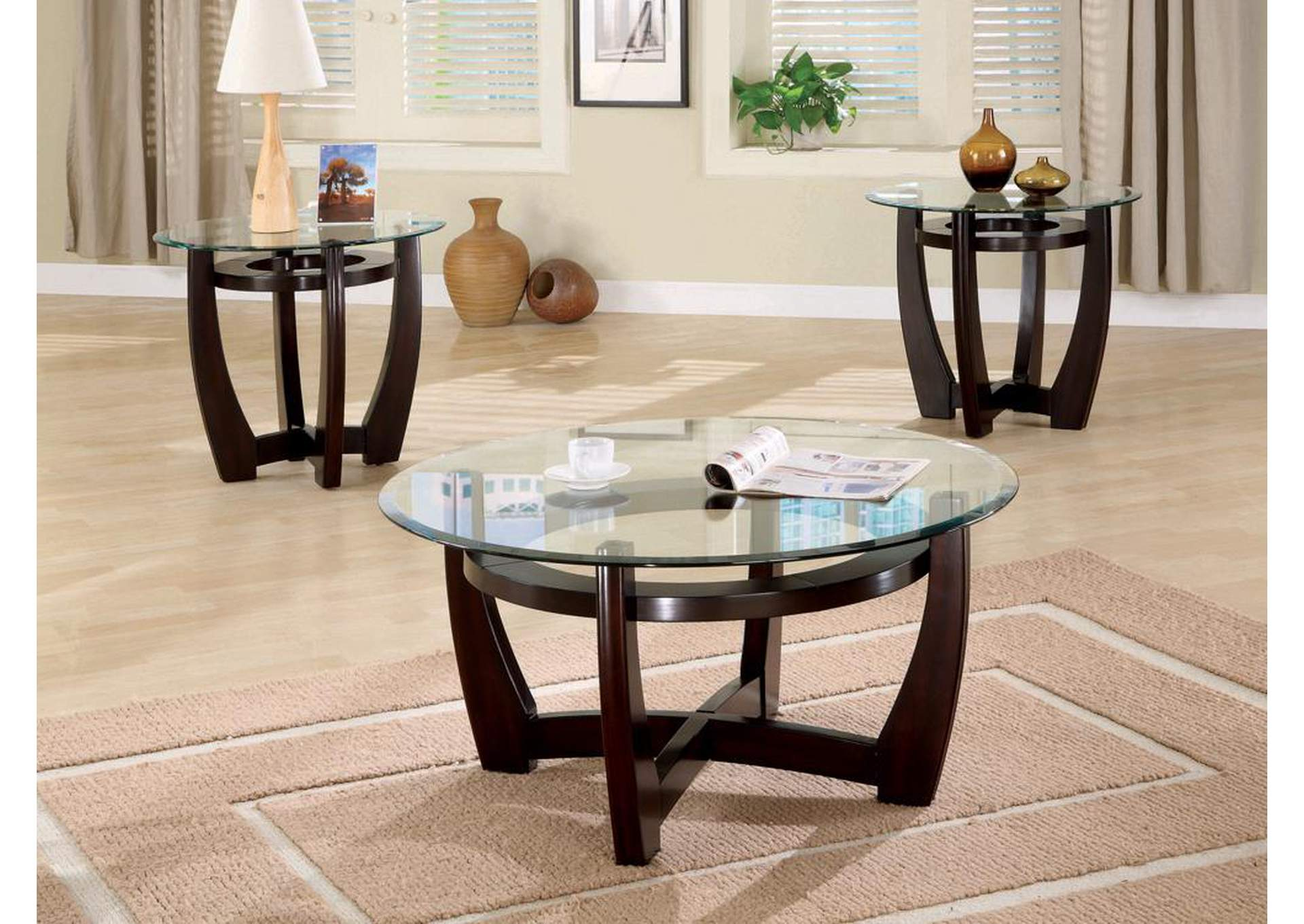 Cappuccino Contemporary Three-Piece Round Occasional Table Set,Coaster Furniture
