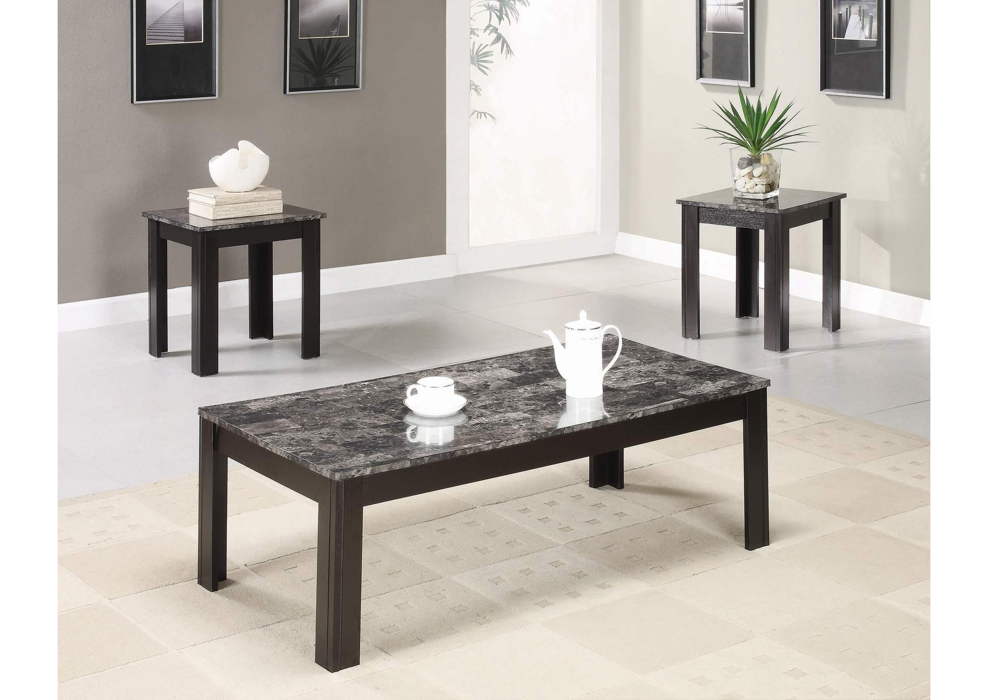 Black Casual Three-Piece Occasional Table Set,Coaster Furniture