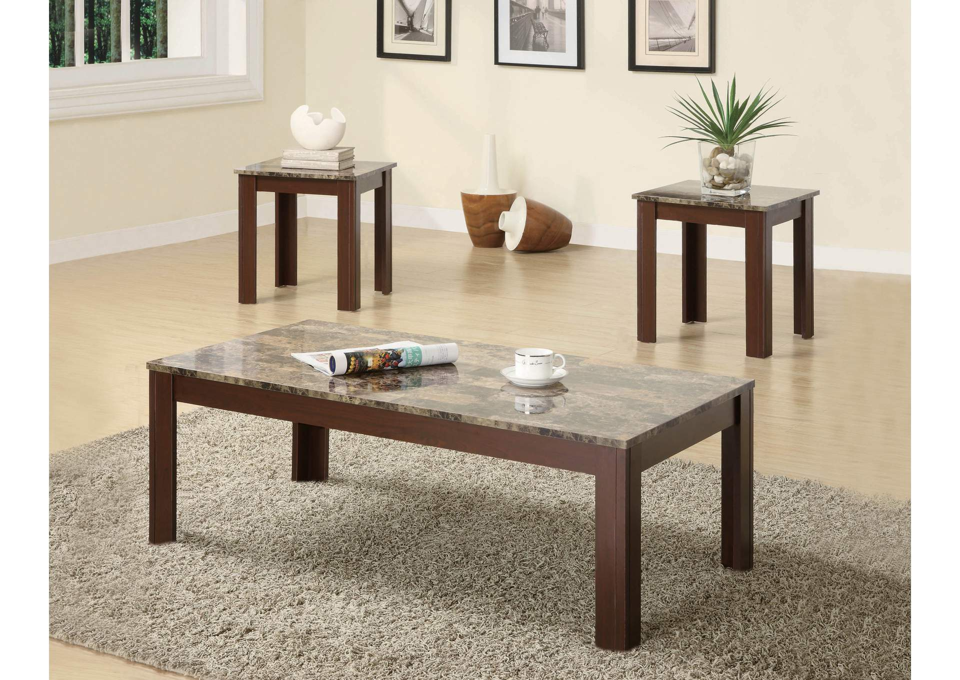 Brown Occasional Cocktail and End Table Set,Coaster Furniture