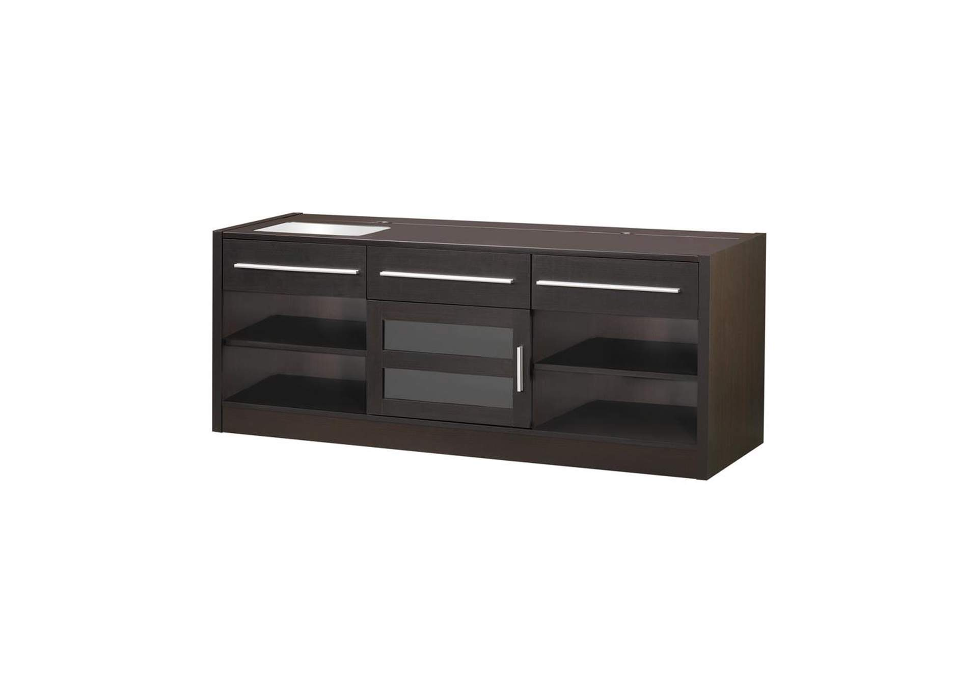 Cappuccino Contemporary Cappuccino TV Console W/ Connect-It Power Drawer,Coaster Furniture