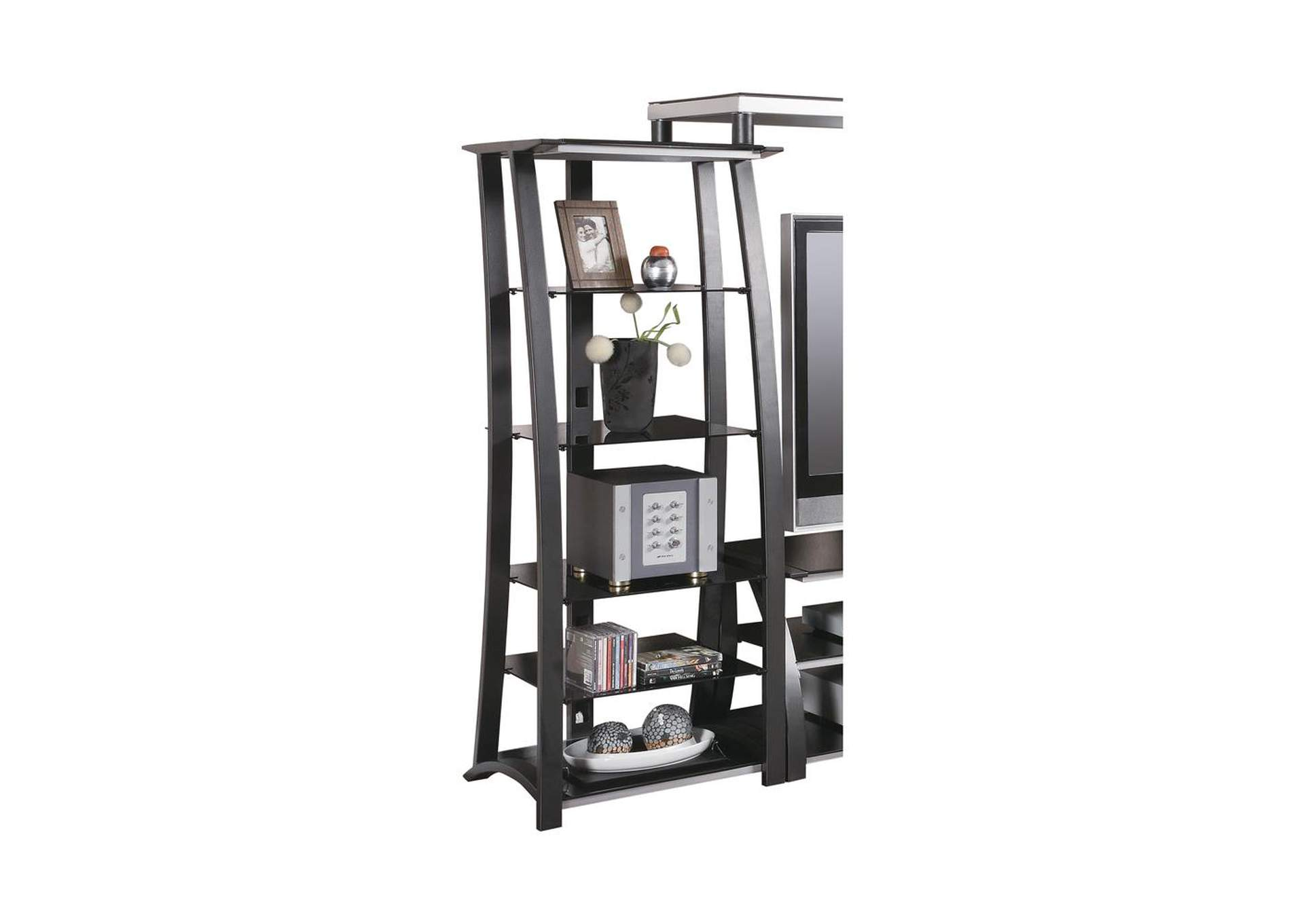 Contemporary Matte Black Media Tower,Coaster Furniture