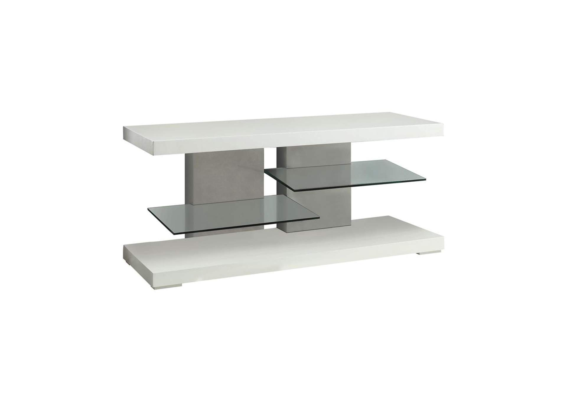 Westar Contemporary Glossy White TV Console,Coaster Furniture