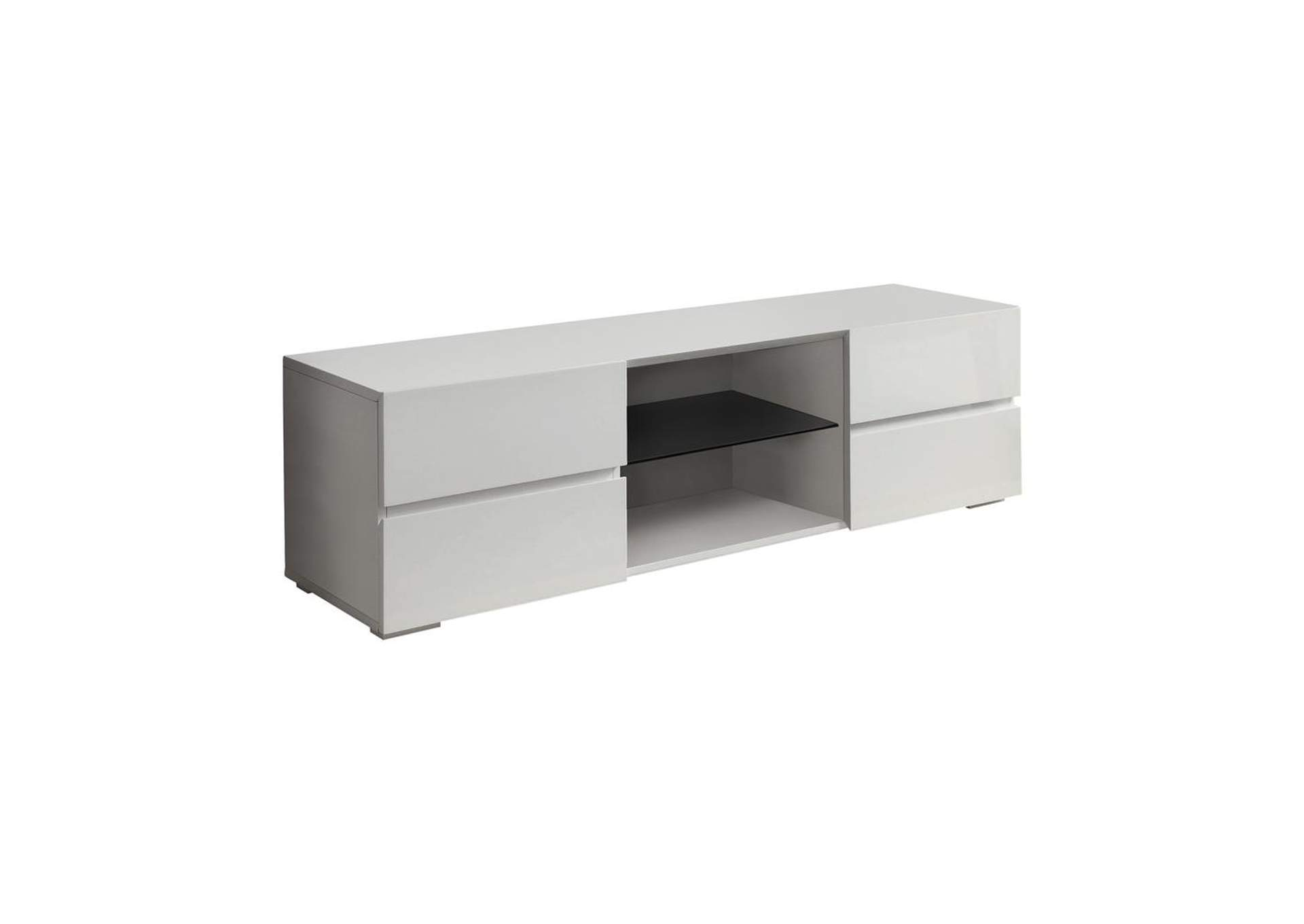 Quill Gray Contemporary Glossy White TV Console,Coaster Furniture