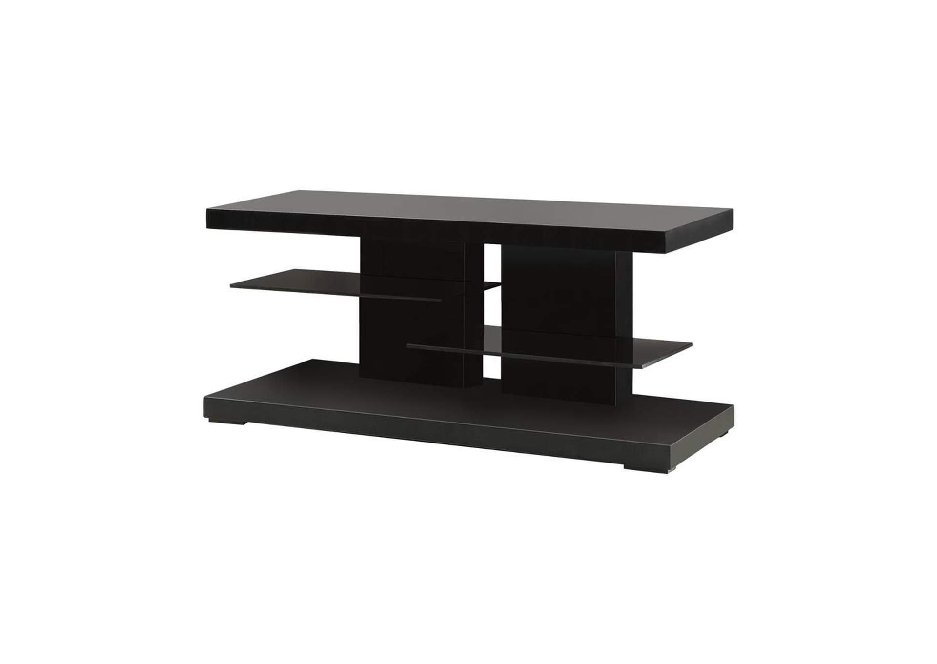 Cod Gray Contemporary Glossy Black TV Console,Coaster Furniture