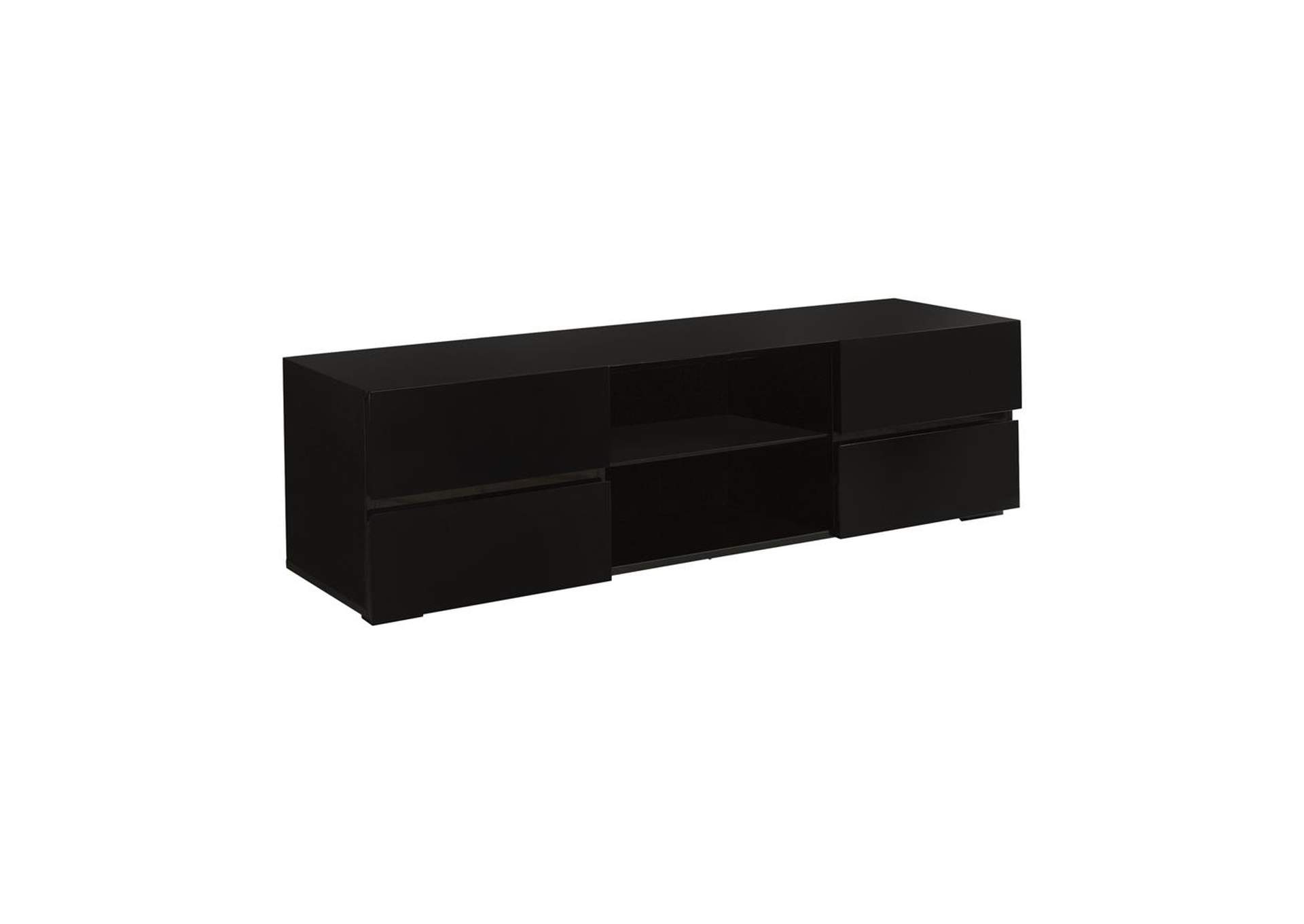 Eerie Black Contemporary Glossy Black TV Console,Coaster Furniture
