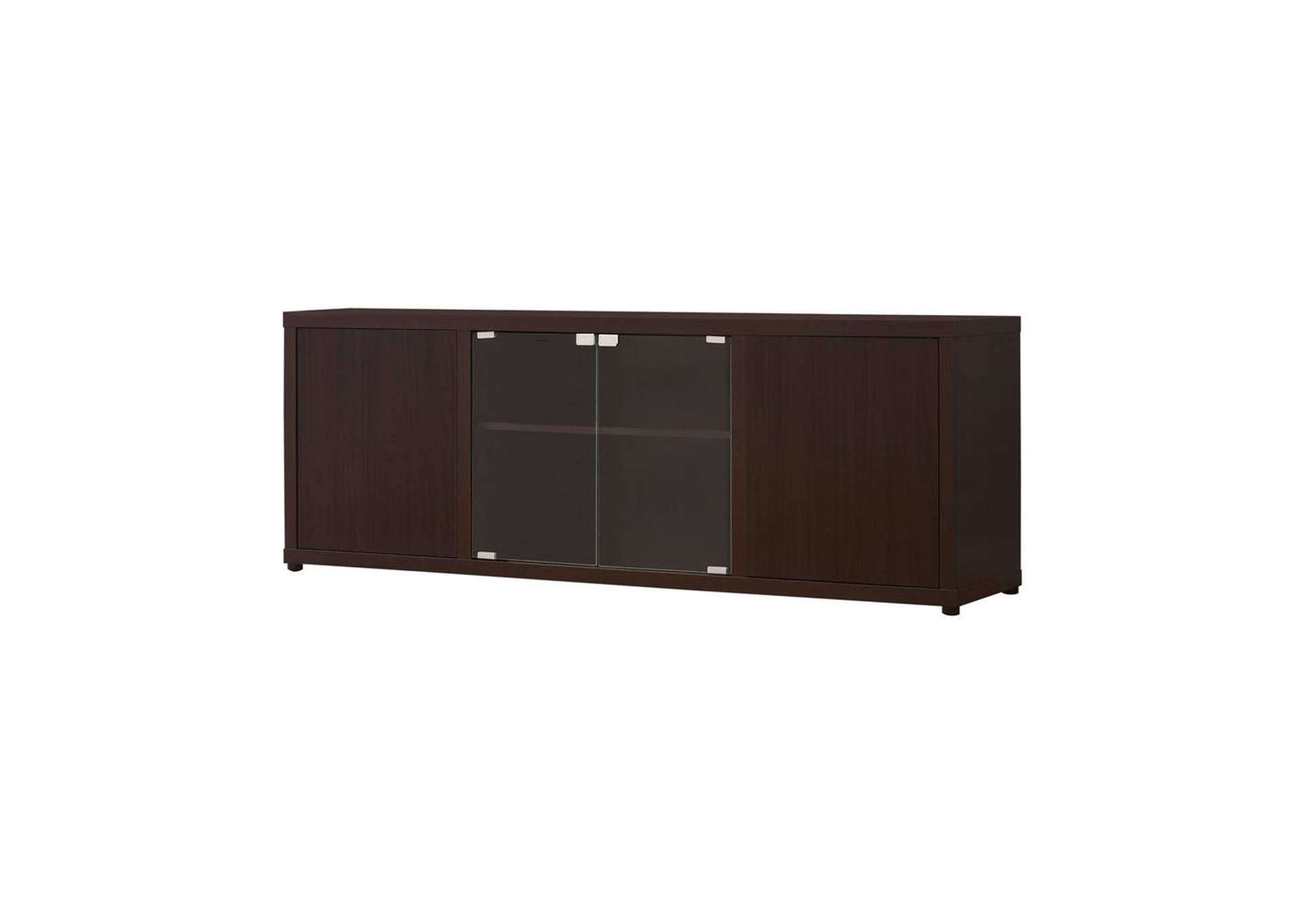 Cappuccino Casual Cappuccino TV Console W/ Push-To-Open Glass Doors,Coaster Furniture