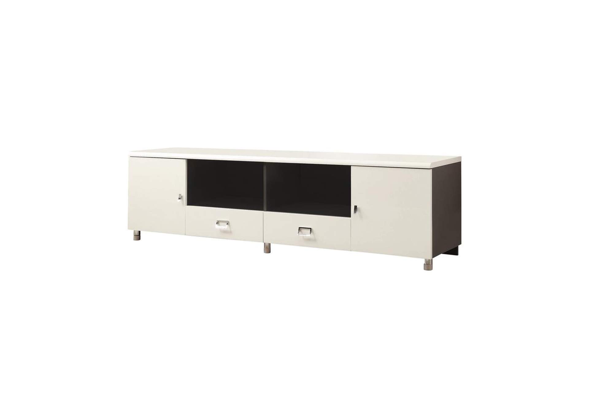 Eerie Black Contemporary White TV Console,Coaster Furniture