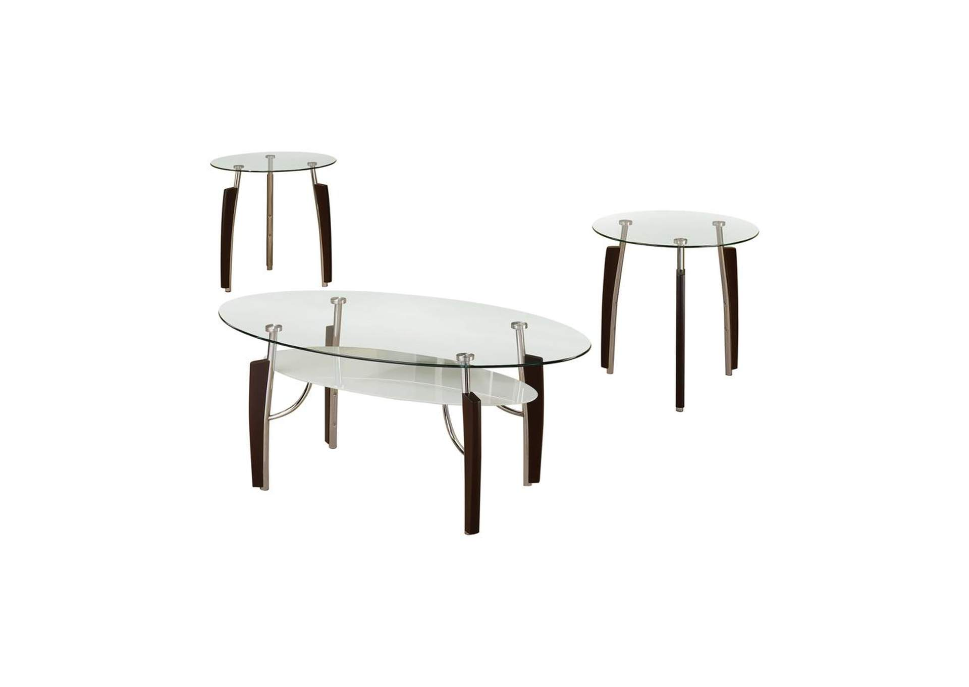 Mercury Occasional Table Sets Contemporary Cappuccino Round Three-Piece Set,Coaster Furniture