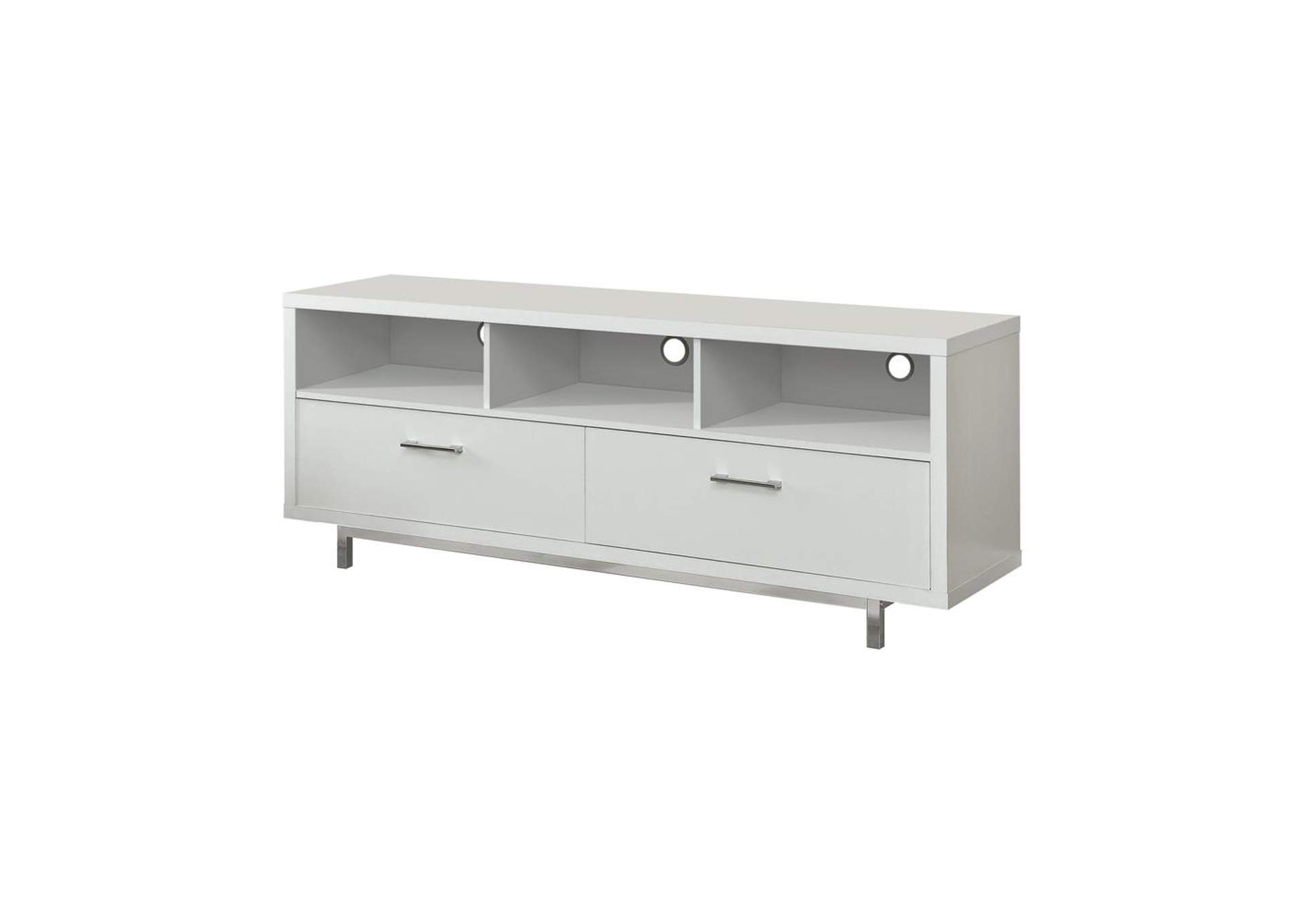 White Transitional White TV Console,Coaster Furniture