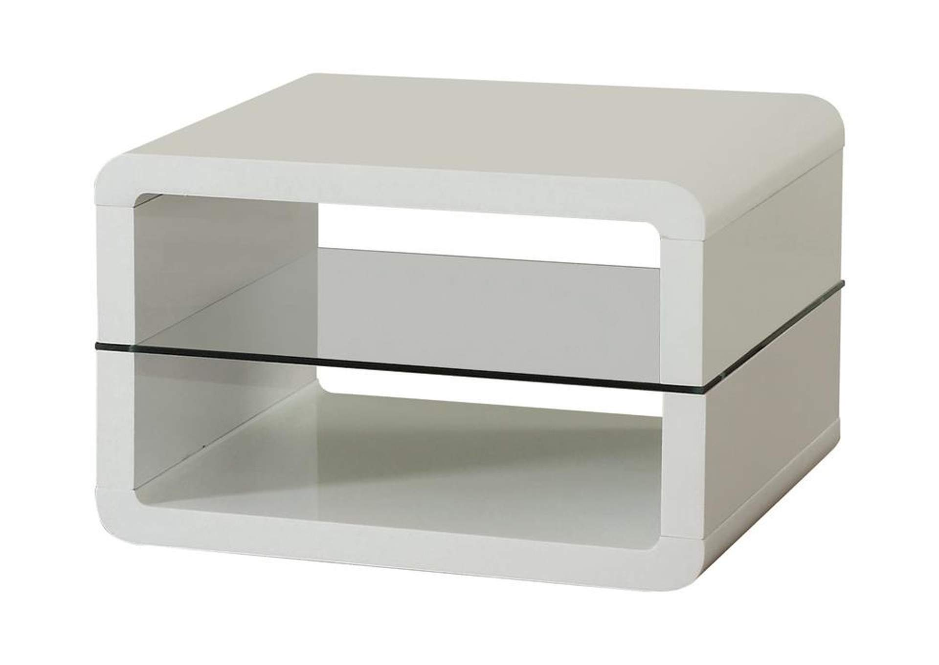 White Modern White End Table,Coaster Furniture