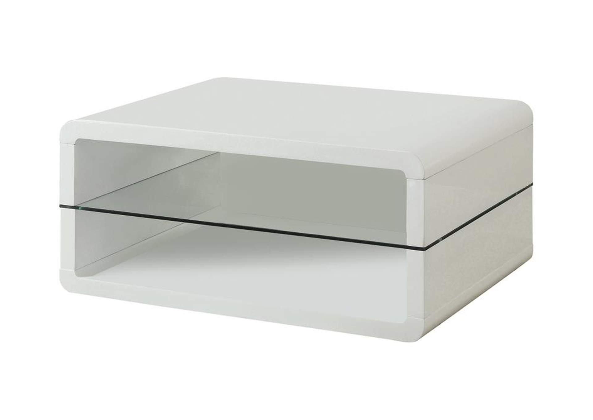 White Modern White Coffee Table,Coaster Furniture