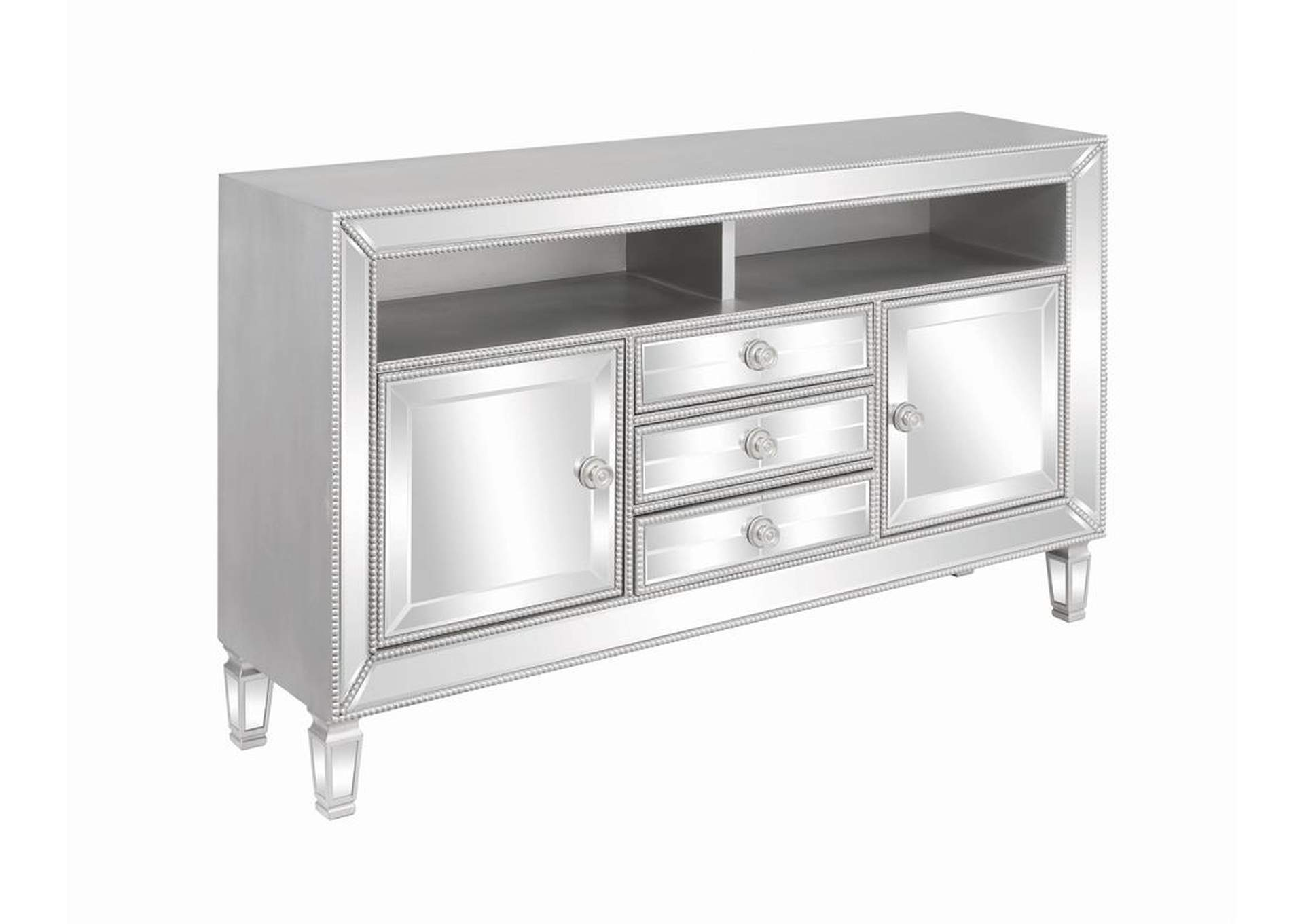 "Silver Contemporary Metallic Platinum 60"" TV Console,Coaster Furniture"