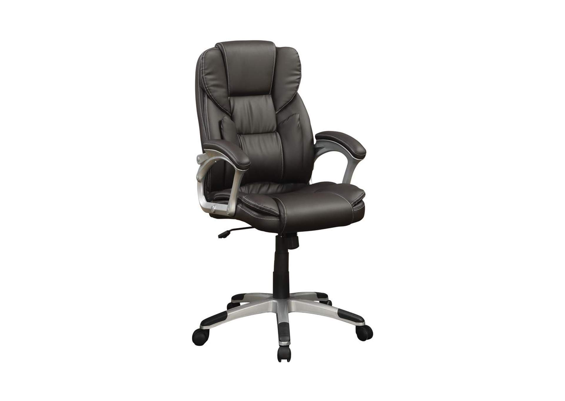 Silver Transitional Dark Brown Office Chair,Coaster Furniture