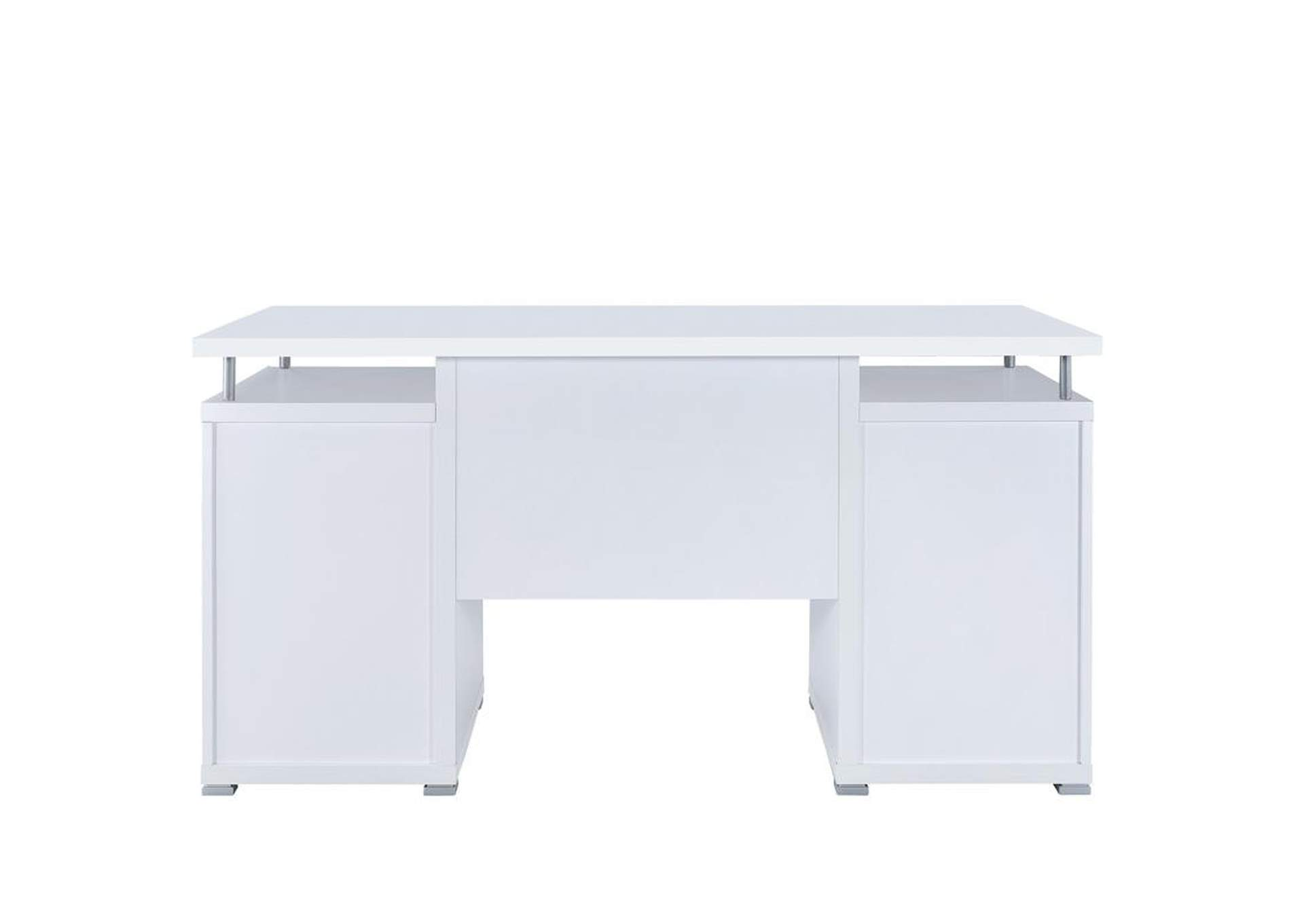 White Contemporary Computer Desk,Coaster Furniture