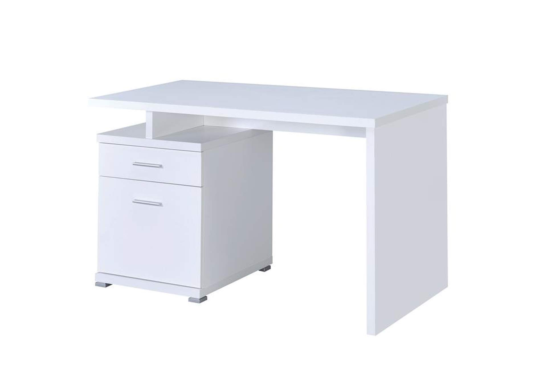 White Contemporary White Executive Desk,Coaster Furniture