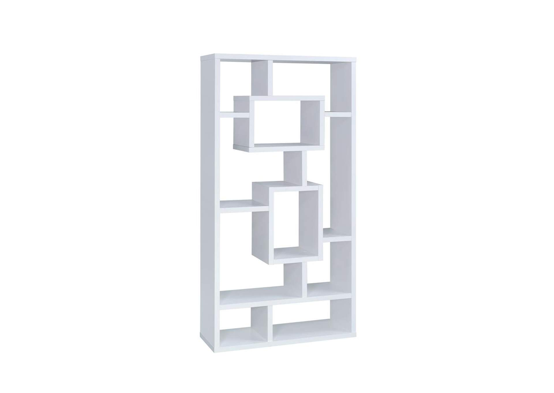 White Geometric Cube White Bookcase,Coaster Furniture