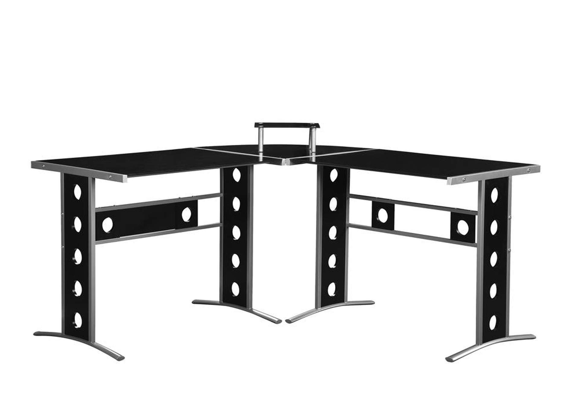 Black Casual Black and Silver Computer Desk,Coaster Furniture