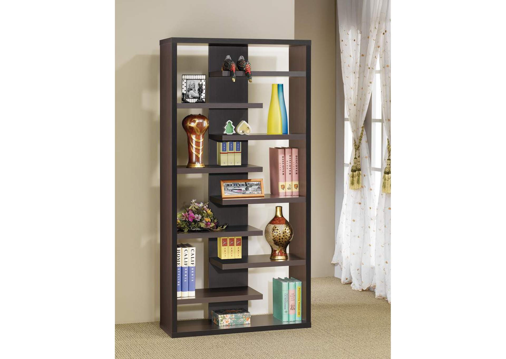 Cappuccino Casual Dark Bookcase,Coaster Furniture