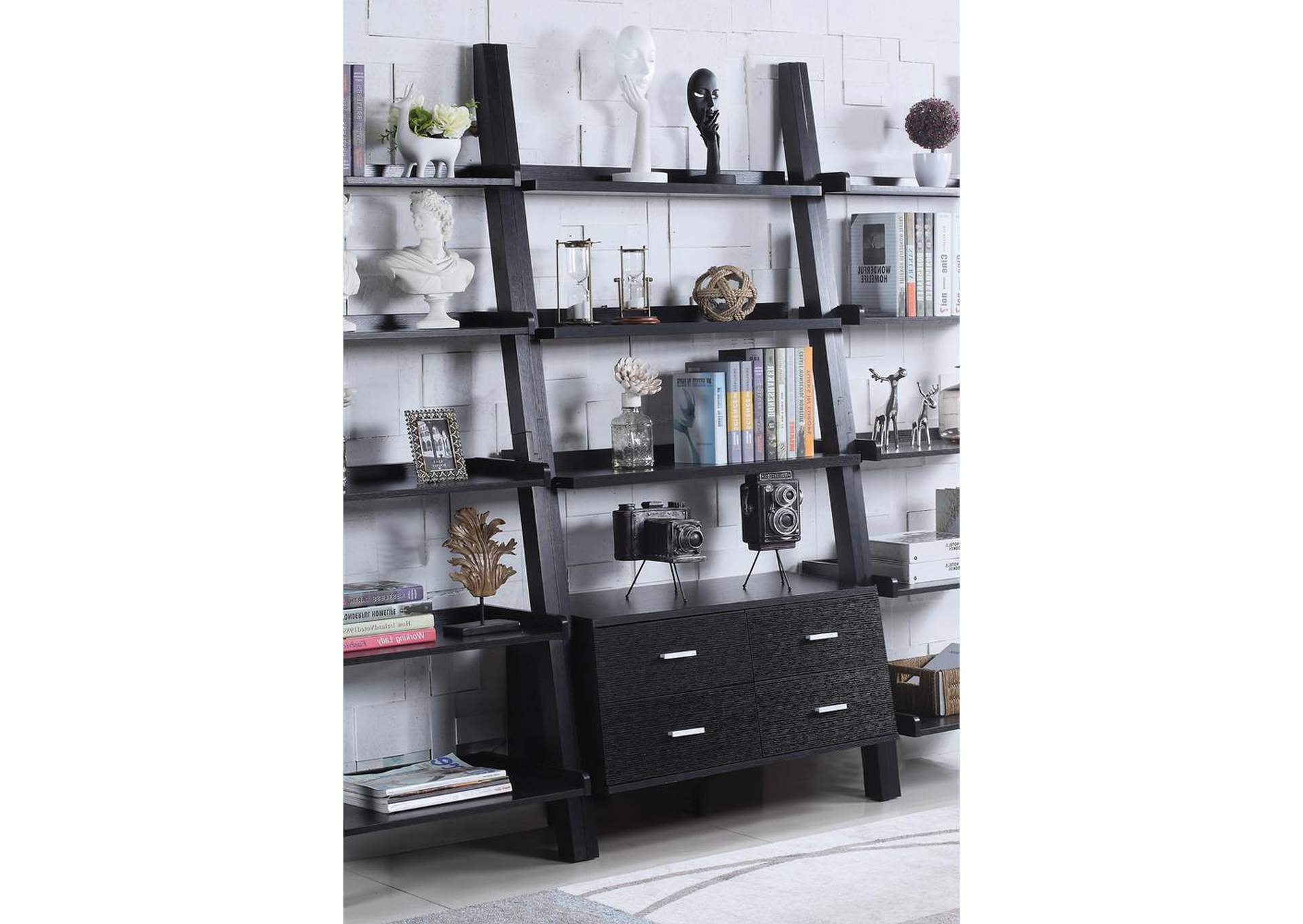 Cappuccino Contemporary Leaning Bookcase,Coaster Furniture