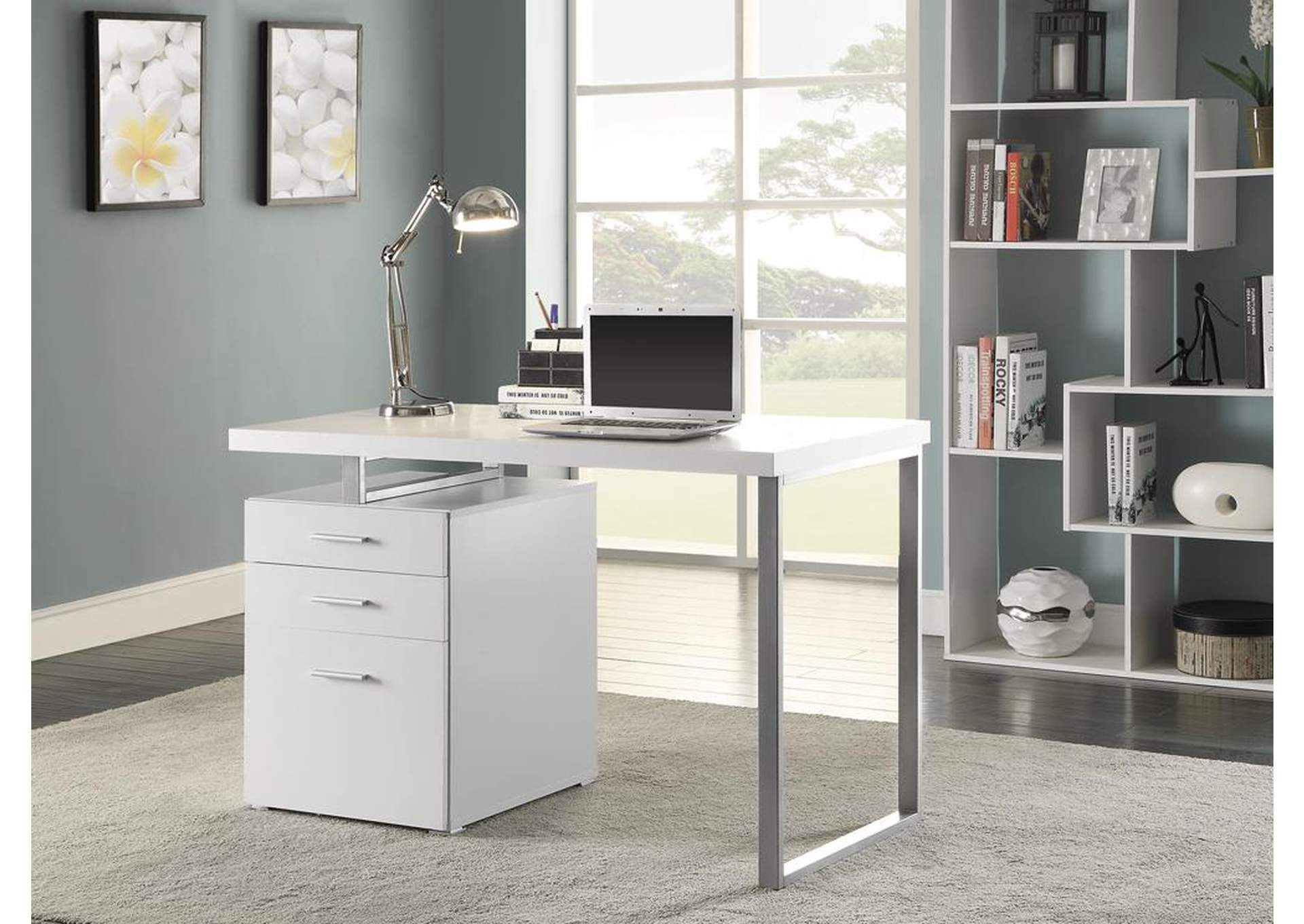 White Contemporary Writing Desk,Coaster Furniture