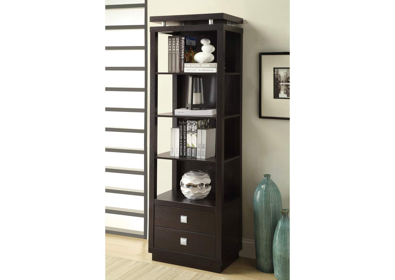 Contemporary Cappuccino Bookcase,Coaster Furniture