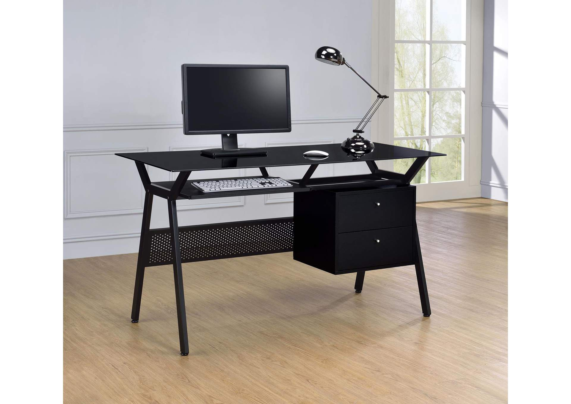 Black Casual Black Computer Desk,Coaster Furniture
