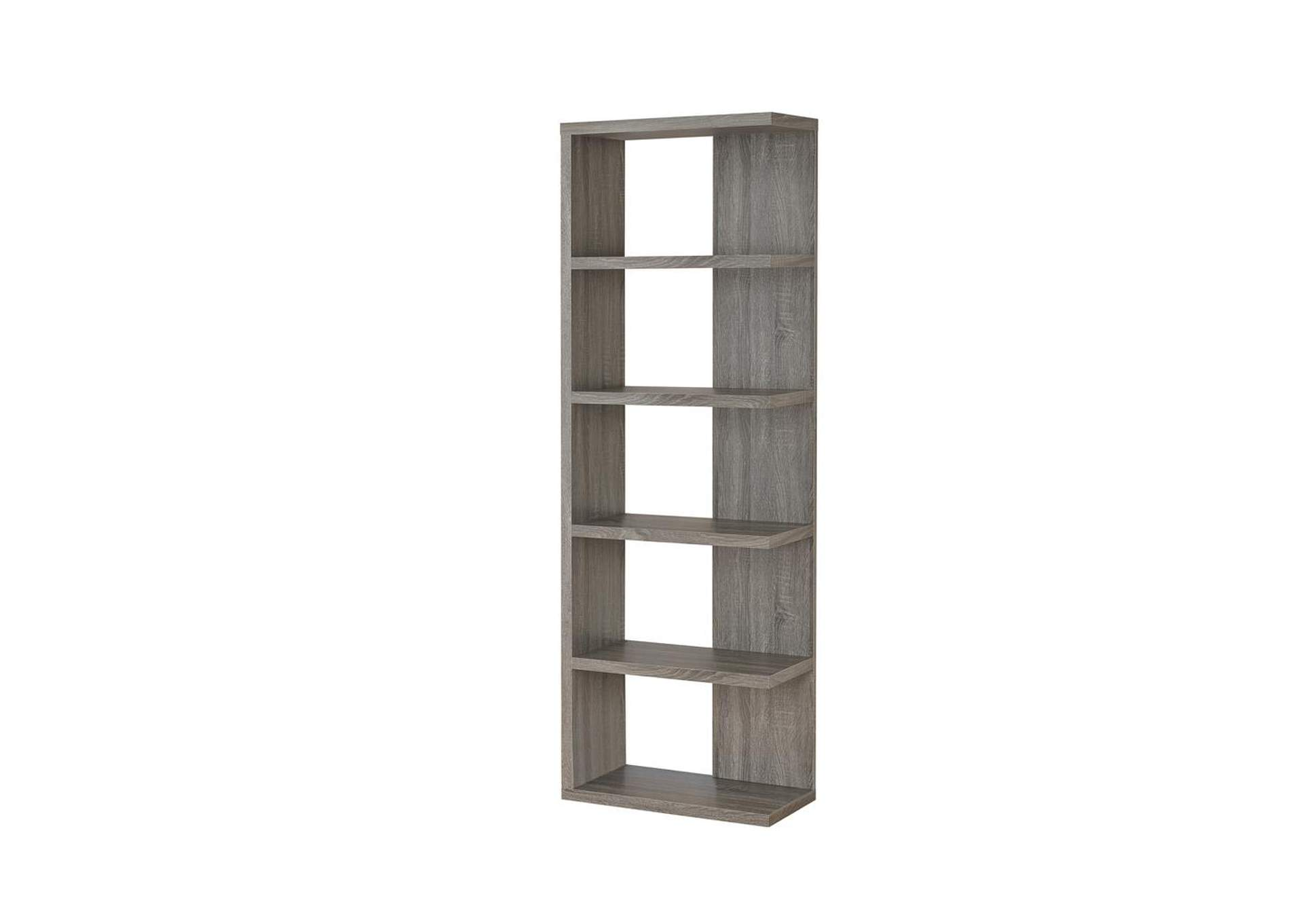 Weathered Grey Contemporary Weathered Grey Five-Shelf Bookcase,Coaster Furniture