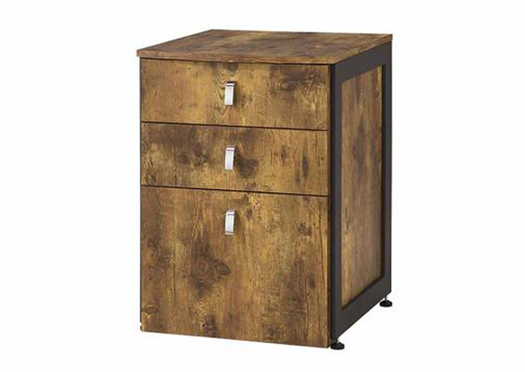 Antique Nutmeg Estrella Industrial File Cabinet,Coaster Furniture