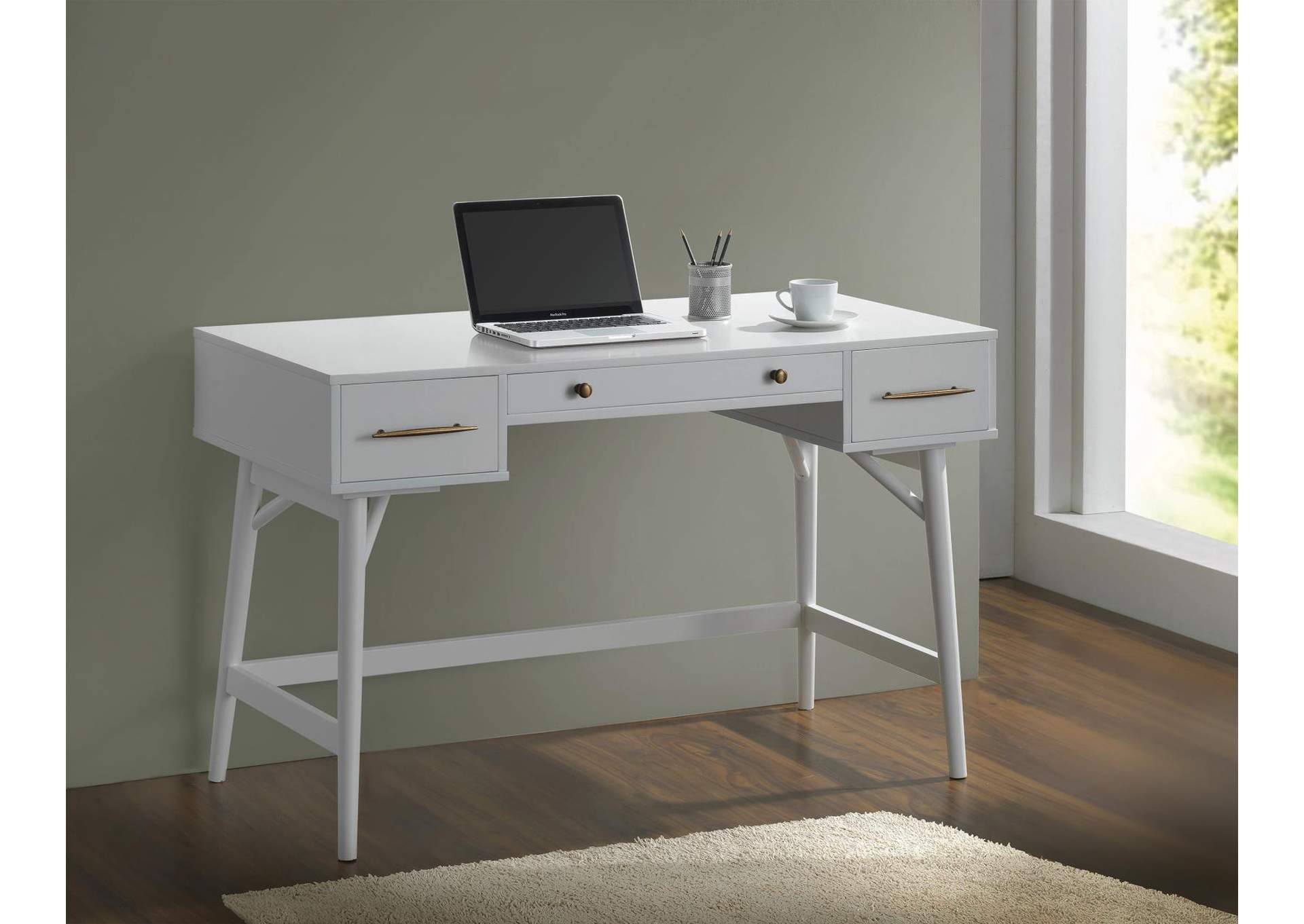 Alto Transitional White Writing Desk,Coaster Furniture