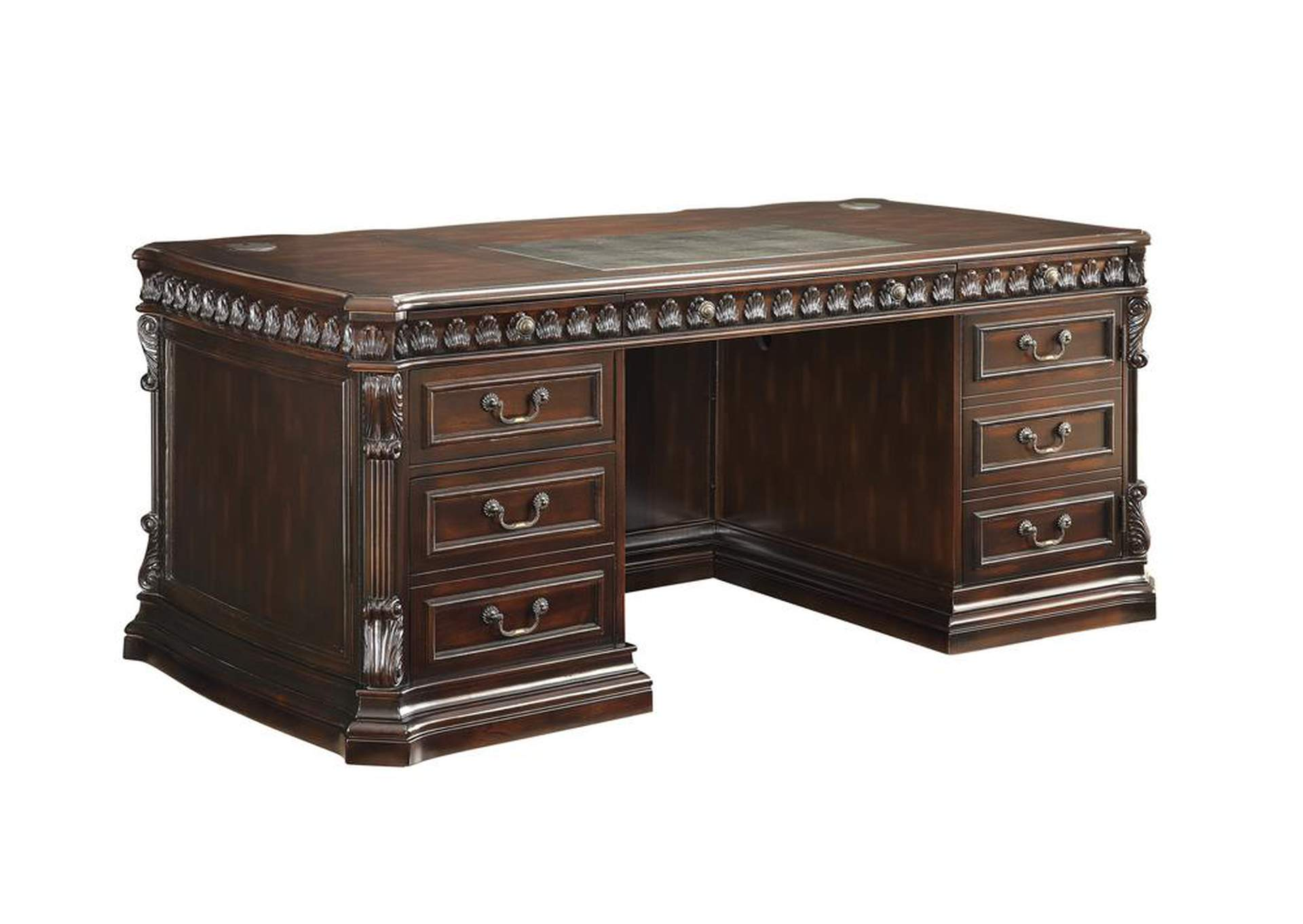 Oil Tucker Traditional Rich Brown Executive Desk,Coaster Furniture