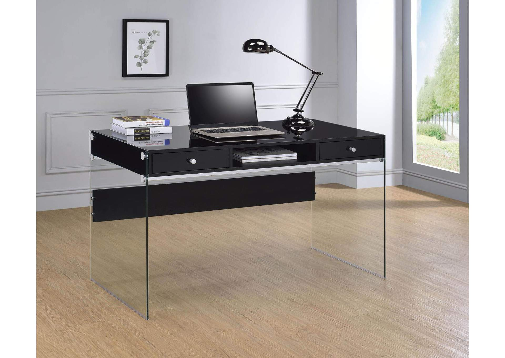 Black High Gloss Contemporary Glossy Black Writing Desk,Coaster Furniture